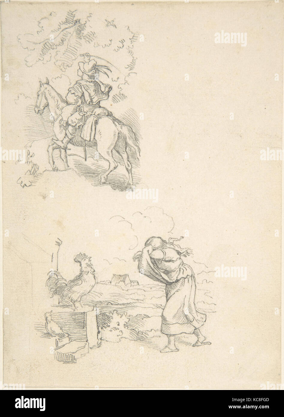 Two Designs for Illustration, Adrian Ludwig Richter, 1820–84 Stock Photo