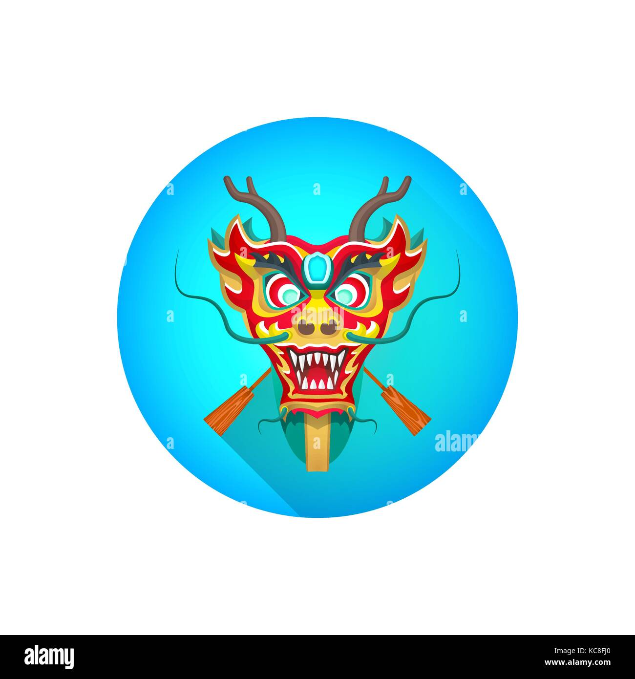 Vector Colorful Traditional Chinese Dragon Boat With Paddles Illustration Flat Shadow Design Blue Circle Background