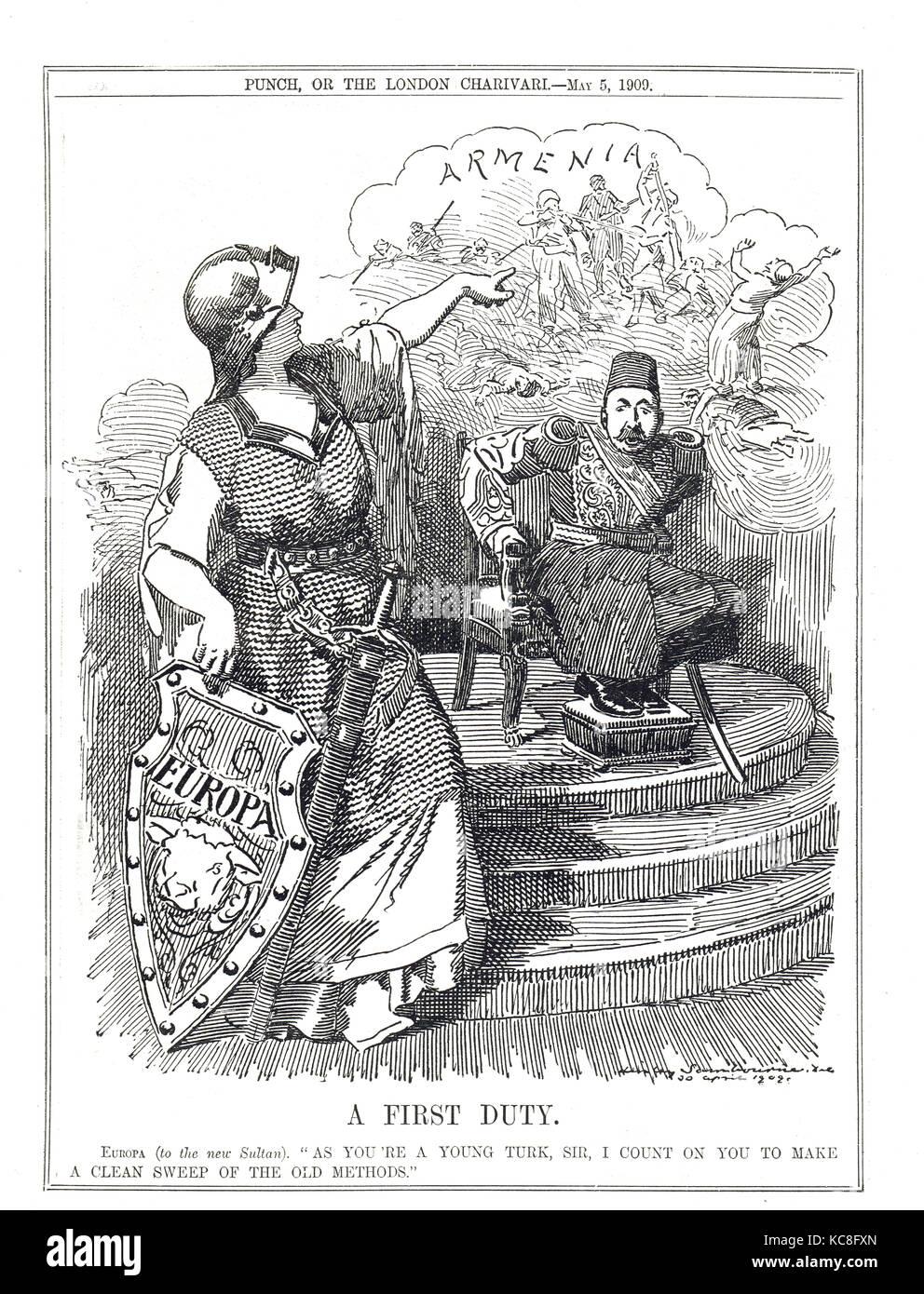 Adana massacre in Armenia, Punch cartoon,1909 - Stock Image