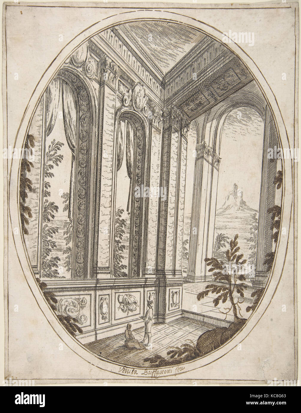 Vertical Oval Vignette of A Palace Interior with Two Figures Admiring Decoration; a Craggy Mountain Seen Through a Window