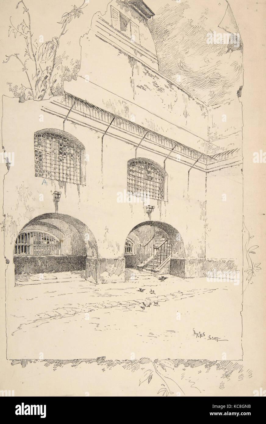 Drawing for Book Illustration, 'Cour des femmes à la Conciergerie', Georges-Bertin Scott, late 19th–mid - Stock Image