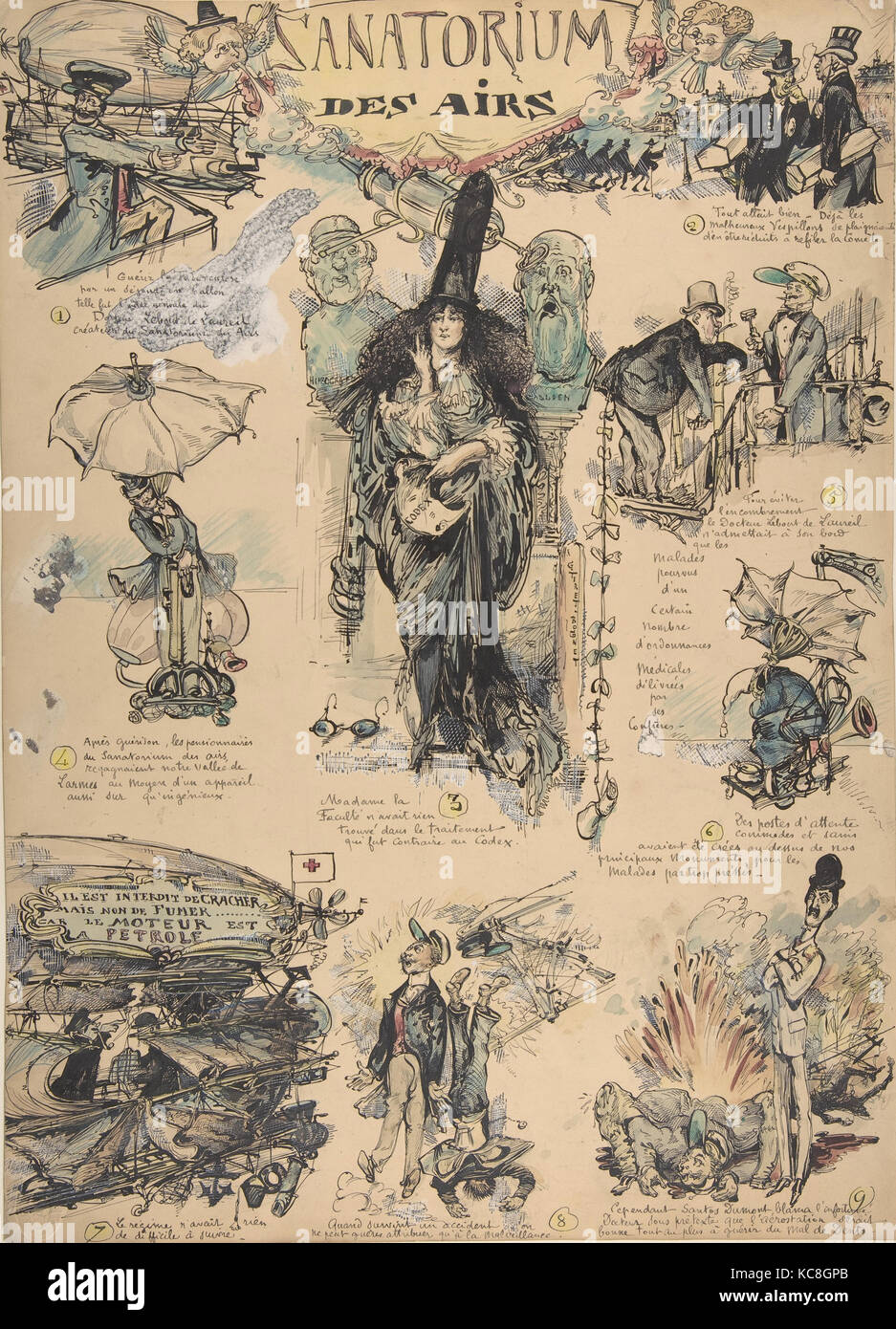 Sanitorium des Airs, n.d., Pen and black ink, brush and colored wash, 18 3/4 x 13 1/2 in. (47.6 x 34.3 cm), Drawings, - Stock Image