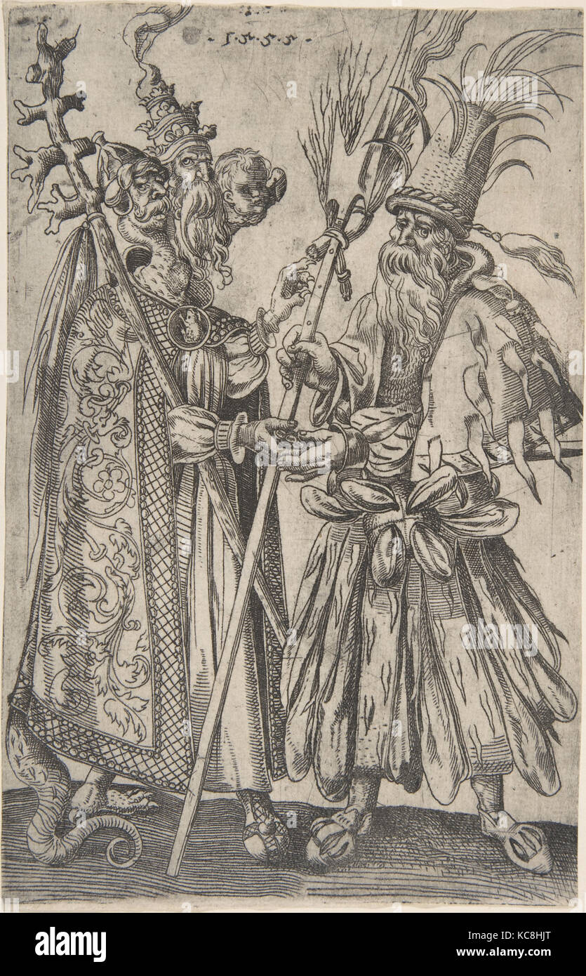 Satire on the Papacy, 1555, Etching, Sheet: 8 x 5 in. (20.3 x 12.7 cm), Prints, Melchior Lorck (Danish, Flensburg - Stock Image