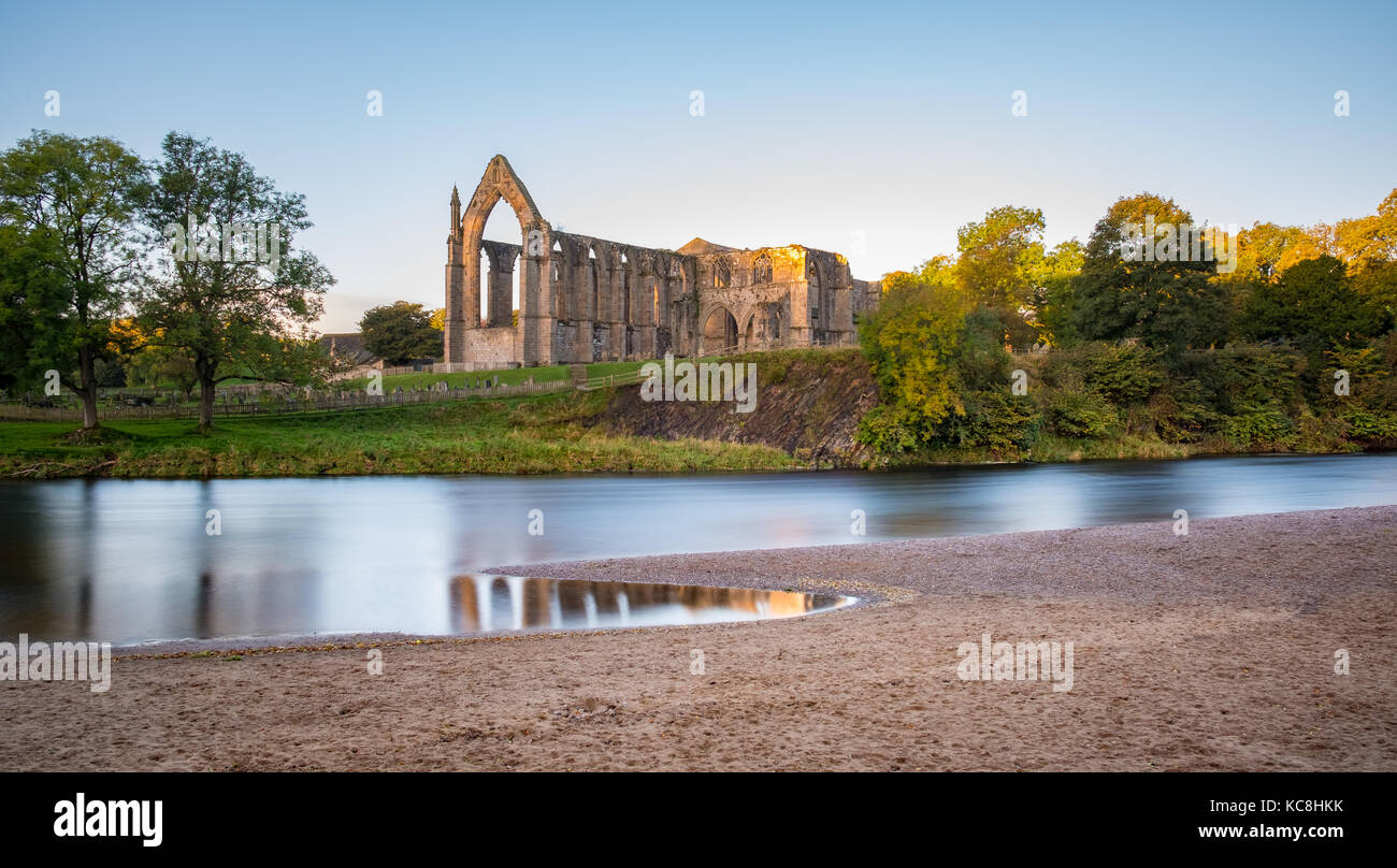 A lovely Autumn morning at the wonderful Bolton Abbey Priory in North Yorkshire - Stock Image