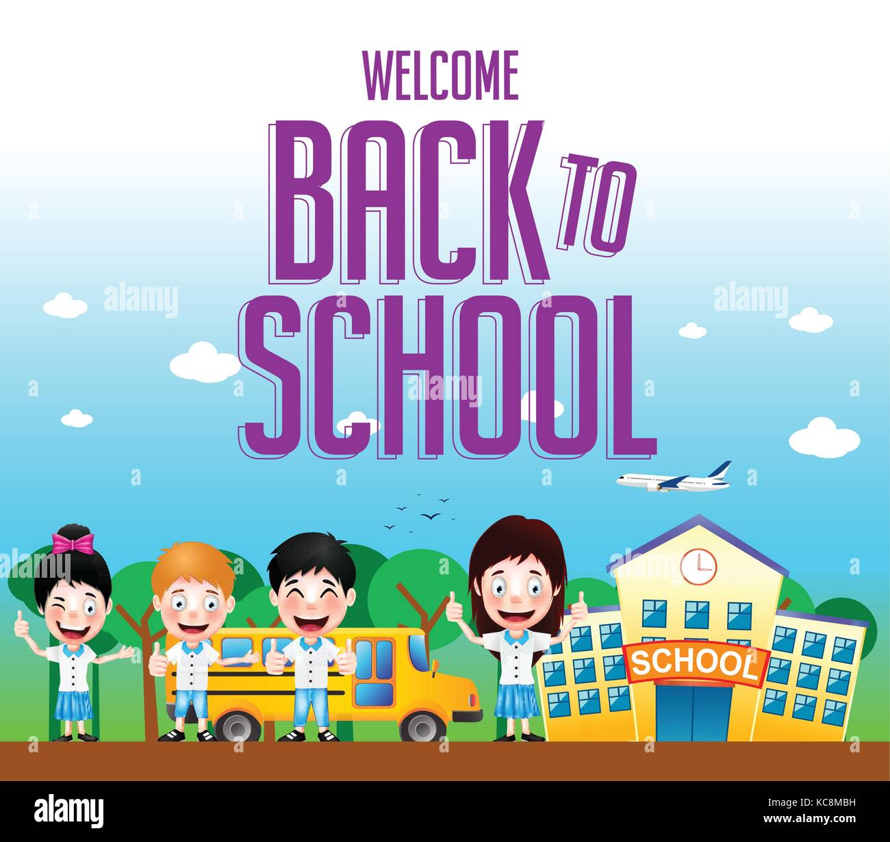 Welcome Back To School Text With School Building And School Bus With Stock Vector Image Art Alamy