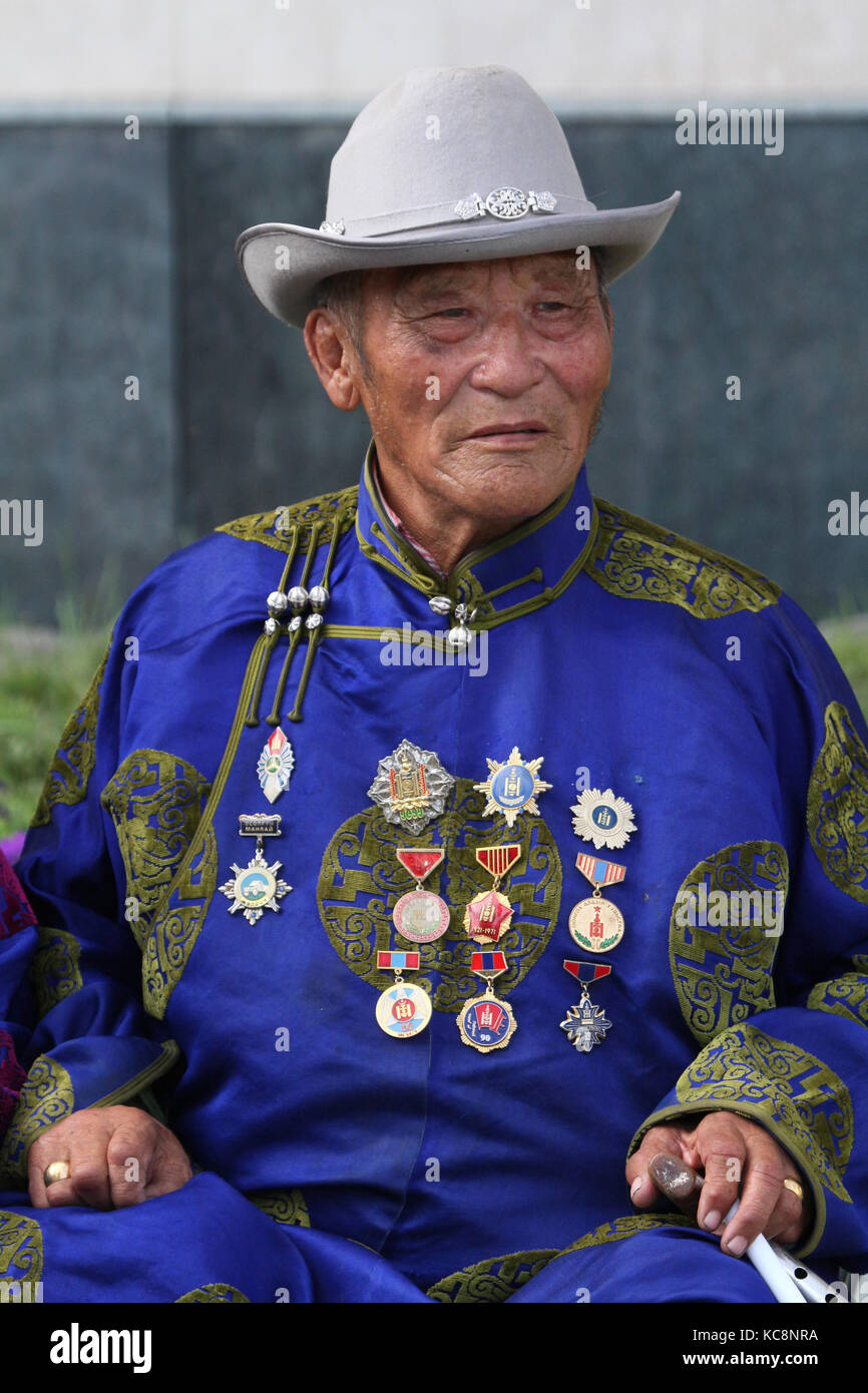 ULAN BATAAR, MONGOLIA, JULY, 20 - People in traditional clothes during Naadam midsummer festival, on July 20, 2013 - Stock Image