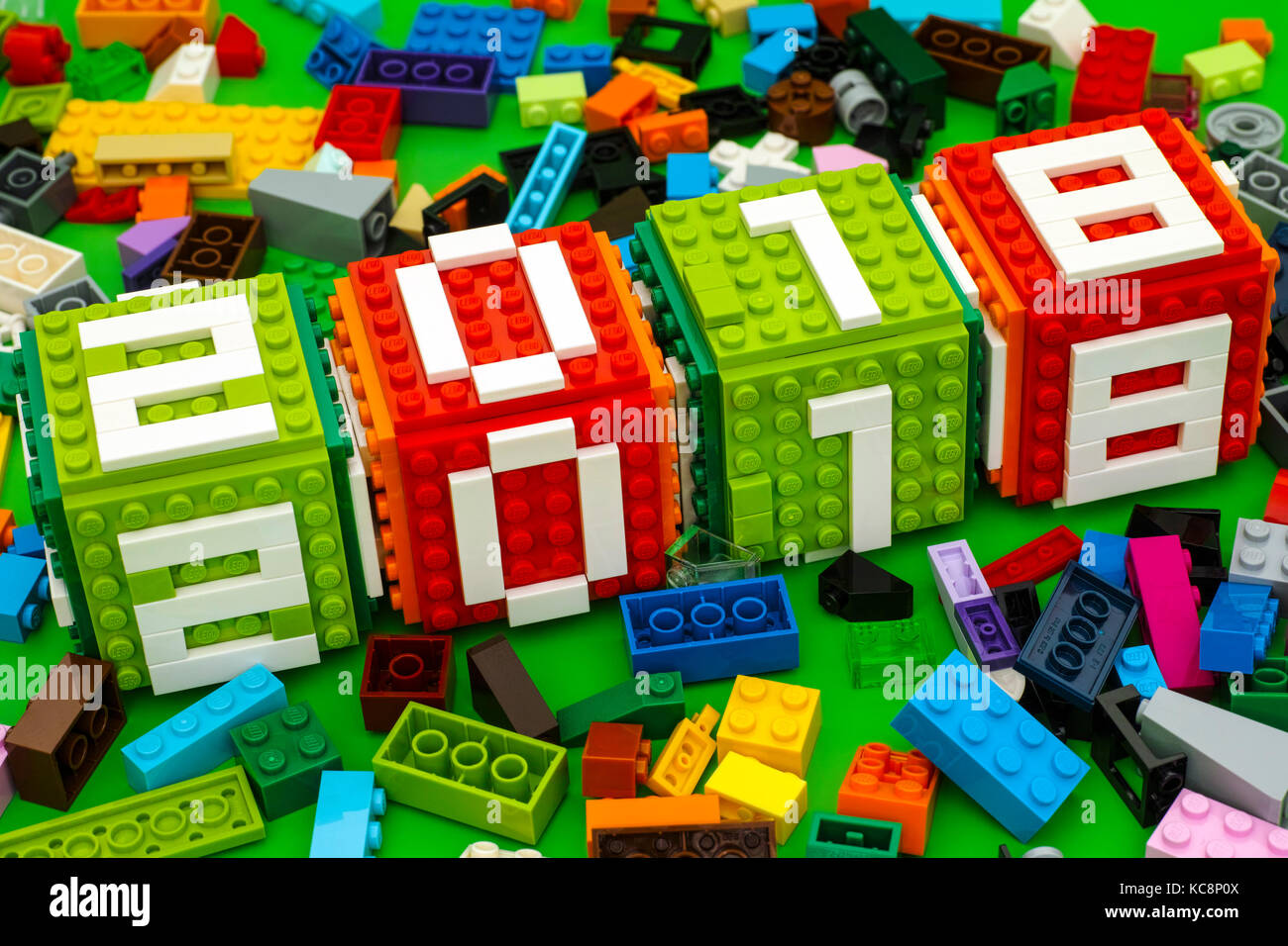 Tambov, Russian Federation - September 28, 2017 Lego New year 2018 concept. Lego cubes  with numbers 2 0 1 8 on - Stock Image