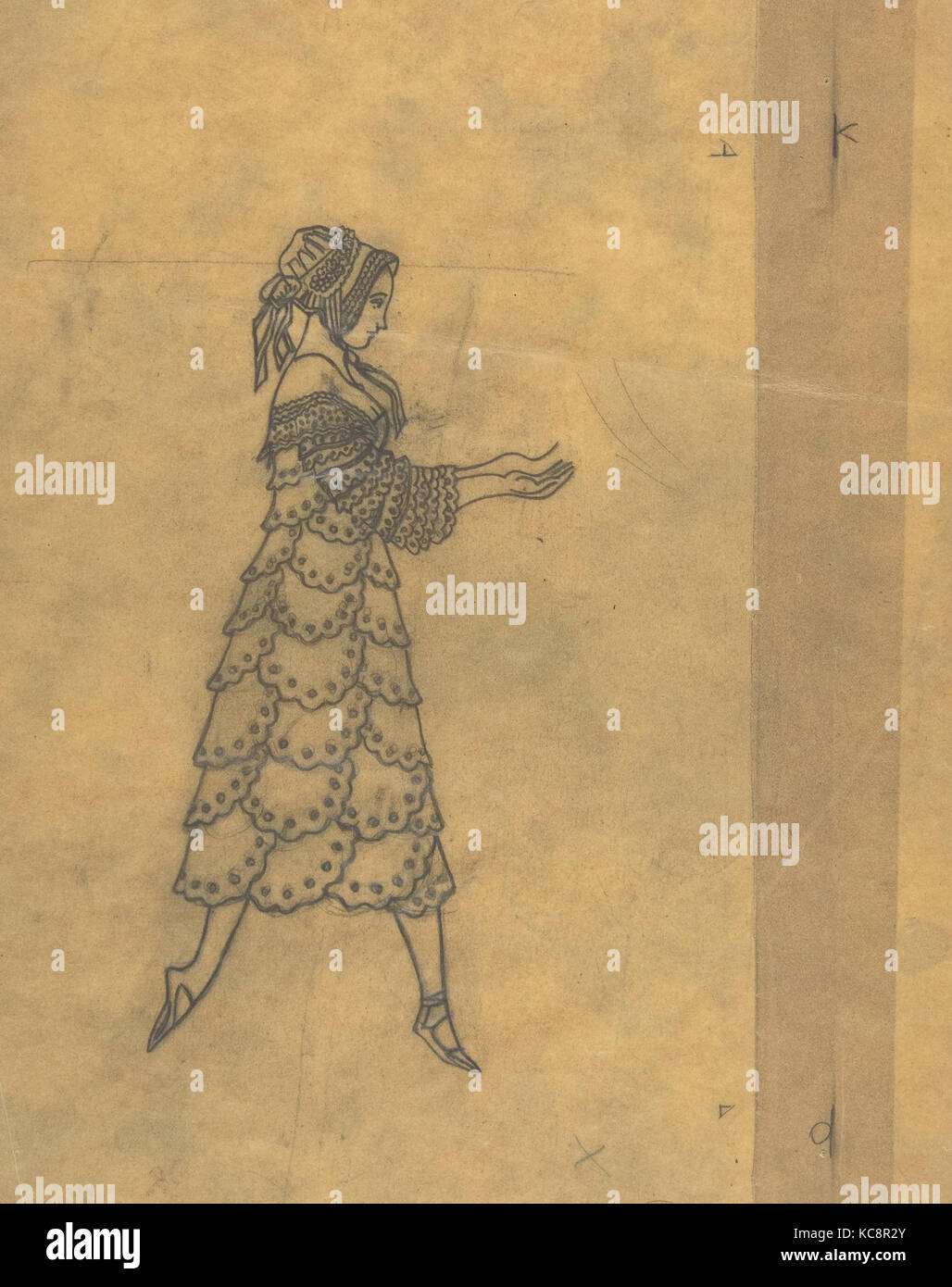 Tracing of a Ballet Costume: Woman in Ruffles, Léon Bakst, 1923 - Stock Image