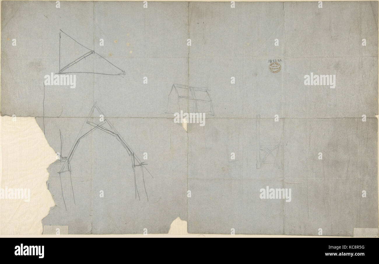 Sketches for an Ecclesiastical Stall (recto and verso), Augustus Welby Northmore Pugin, 1830–52 - Stock Image