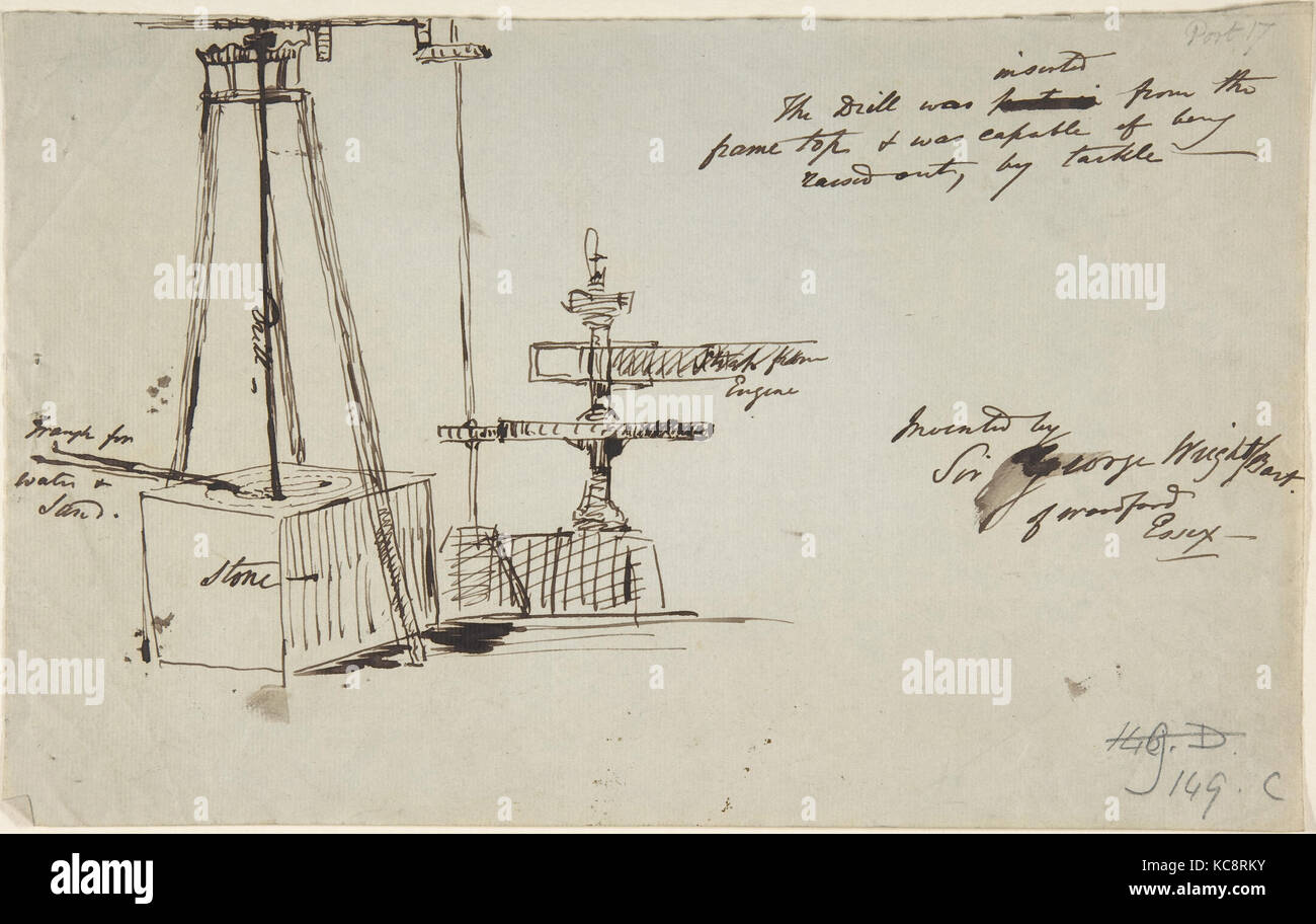 Sketch of a stone drill and saw, Sir George Wright, late 19th–mid-20th century - Stock Image