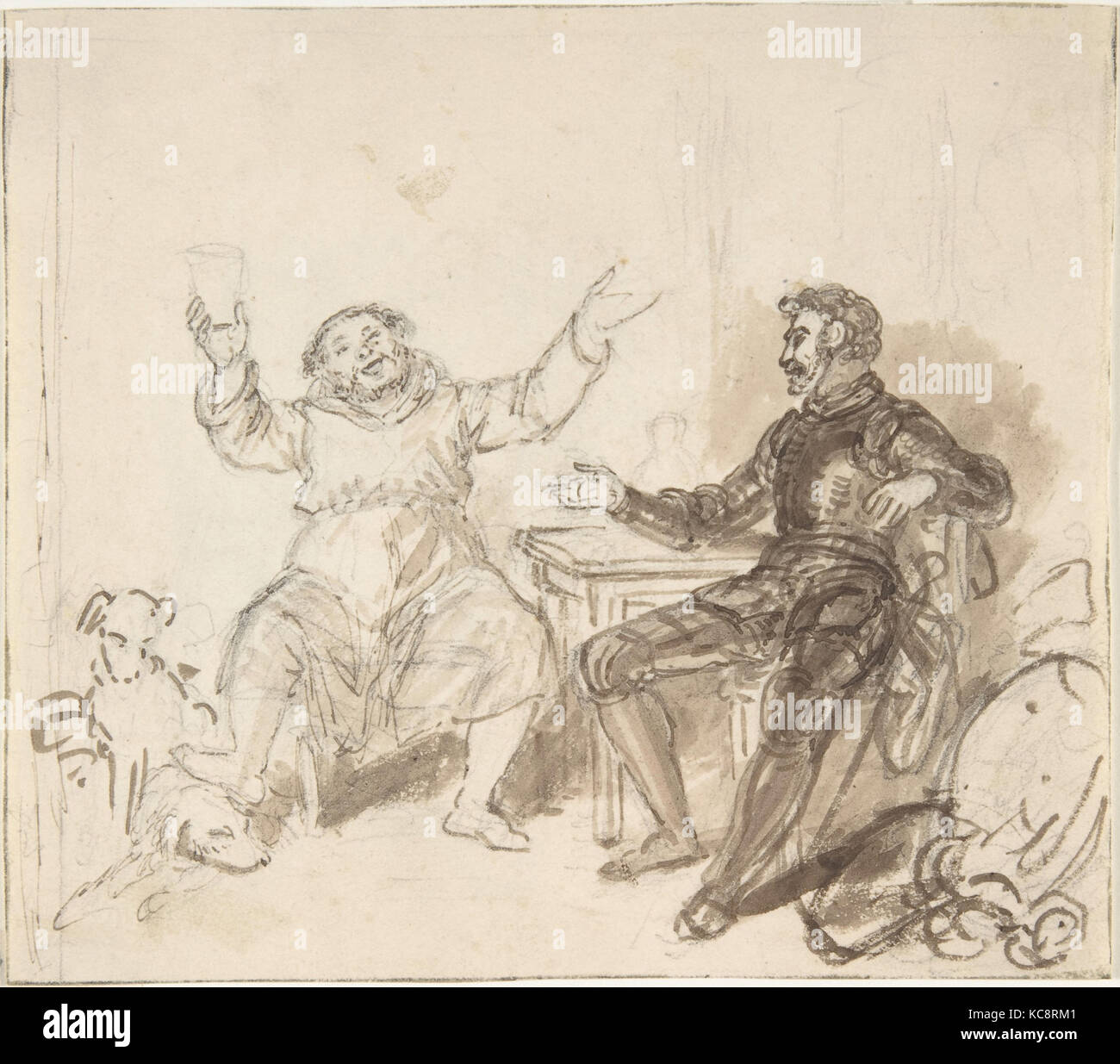 Book illustration: Knight and Monk, John William Wright, 1820–48 - Stock Image