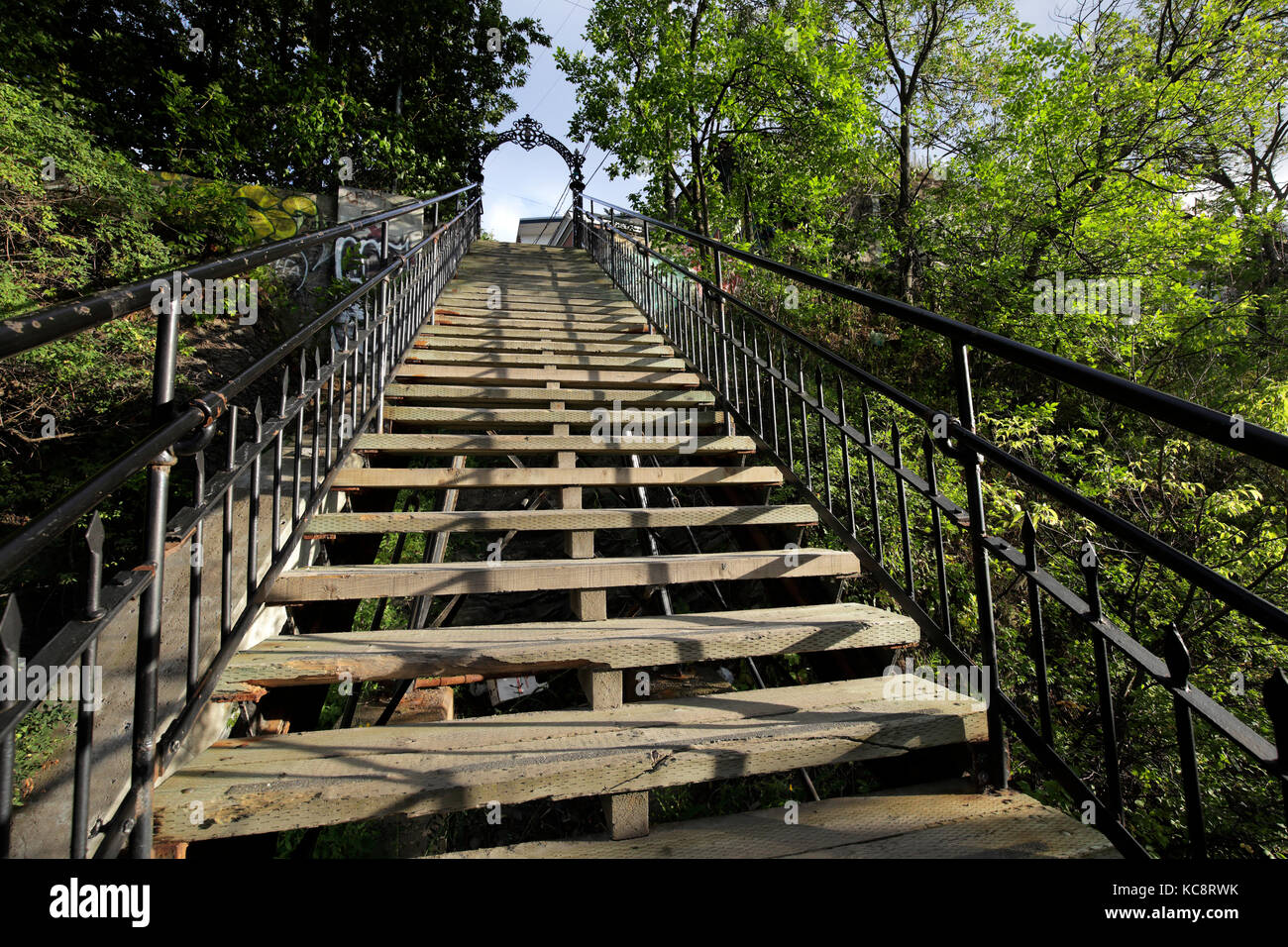 Stairs to old Quebec city. Canada - Stock Image