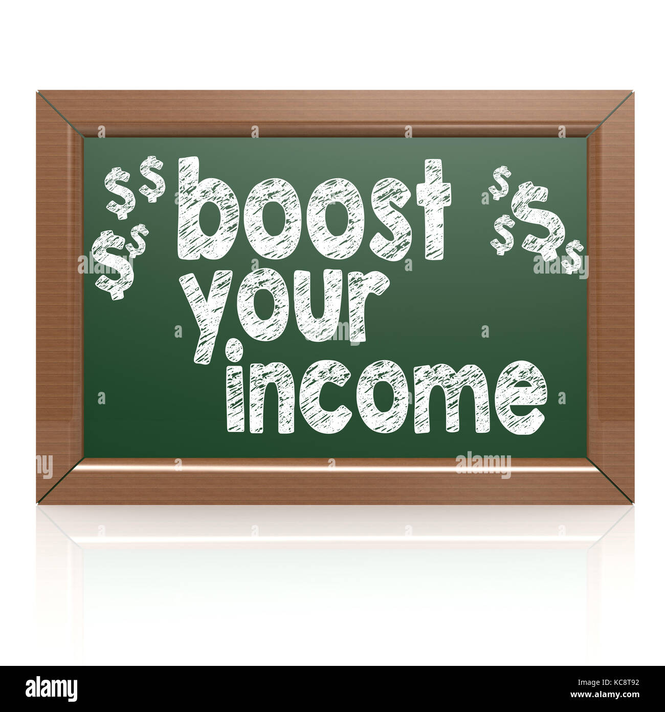 Boost Your Income on a chalkboard image with hi-res rendered artwork that could be used for any graphic design. - Stock Image