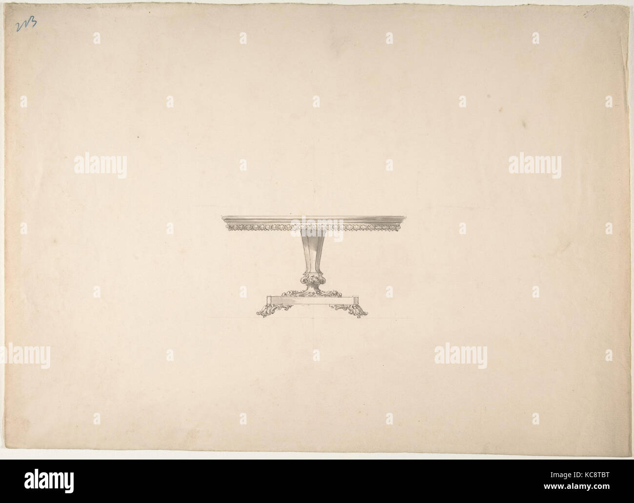 Design for a Round Pedestal Table, Anonymous, British, 19th century, early 19th century - Stock Image