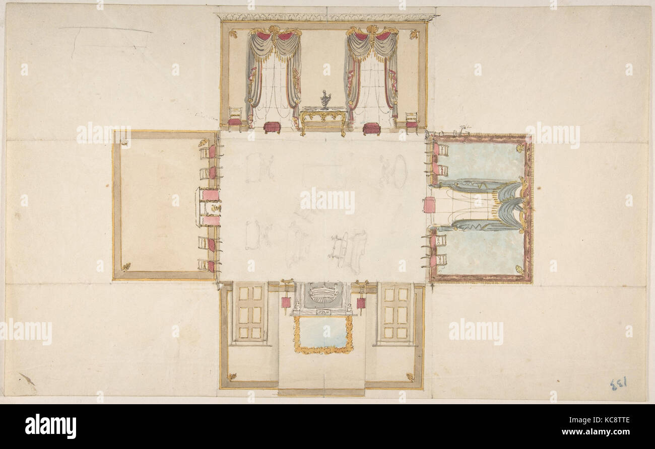 Plan and Elevations of a Room, Anonymous, British, 19th century, ca. 1830 - Stock Image