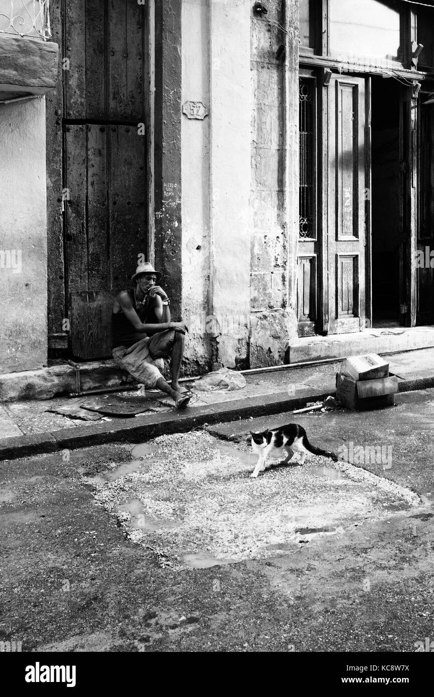 Adult Cuban male sits on doorstep of urban house a cat walks by in foreground. Black and white documentary street Stock Photo