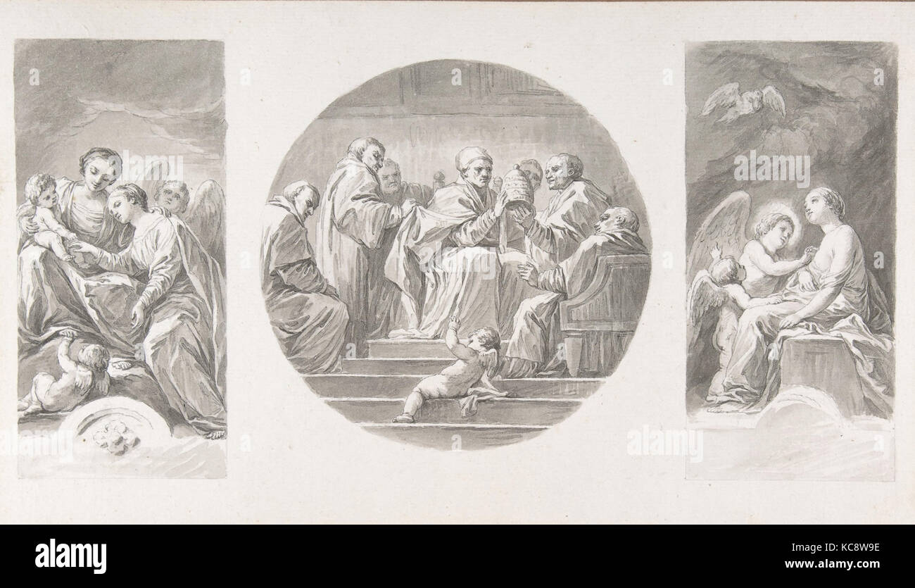 The Mystic Marriage of Saint Catherine; Saint Celestine V Renouncing the Papacy; Saint Catherine Touched by Divine - Stock Image