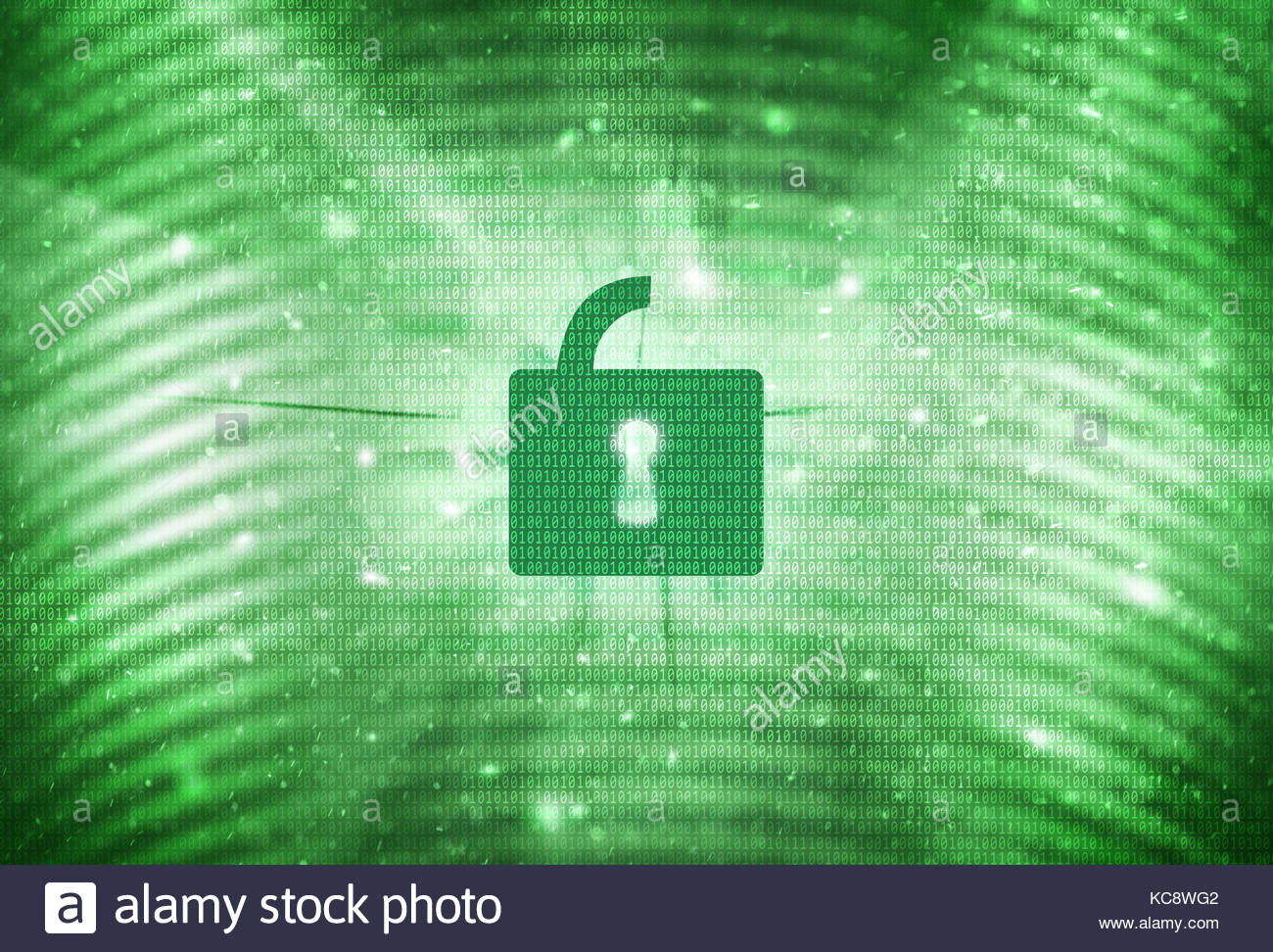 Abstract green color open padlock with binary number code background. Conceptual access internet illustration background. - Stock Image