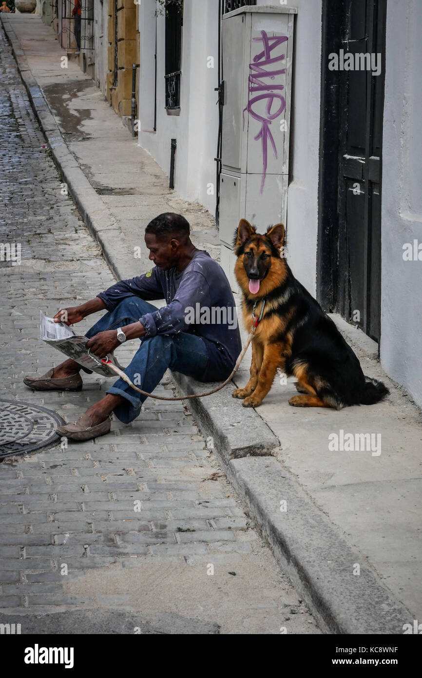 Alsatian dog on a lead sits while an adult male reads a newspaper. Havana, Cuba. - Stock Image