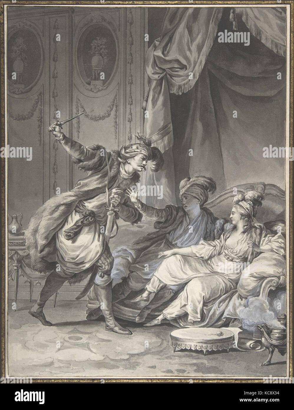 Comme ils en étaient là, arrive l'oncle, Jean Michel Moreau the Younger, ca. 1778 - Stock Image