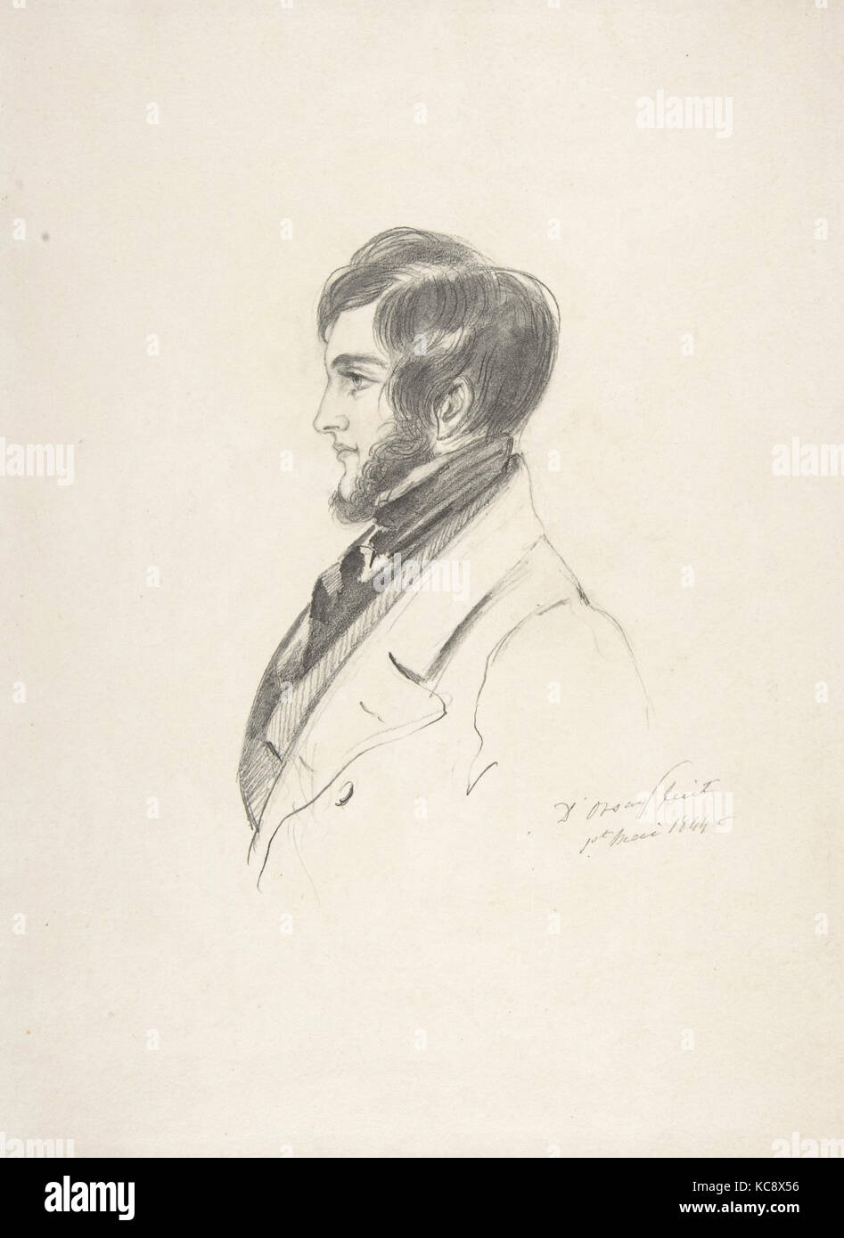 Portrait of Charles Kinnaird Sheridan, Count Alfred Guillaume Gabriel D'Orsay, 1844 - Stock Image