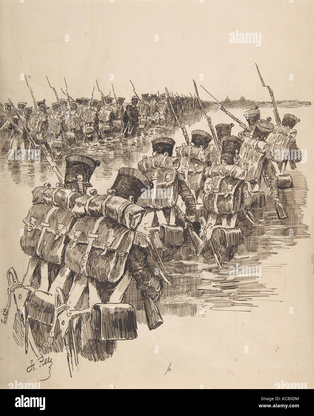 Soldiers Marching in Water, Charles-Henri Pille, 19th century - Stock Image