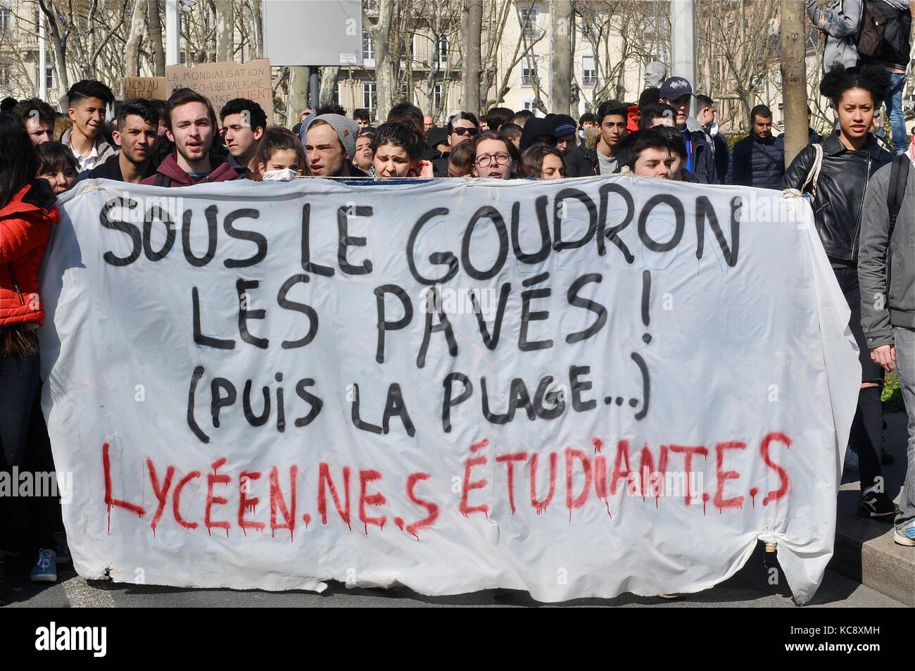 Students march in Lyon to protest against proposed Labour law Lyon, France Stock Photo