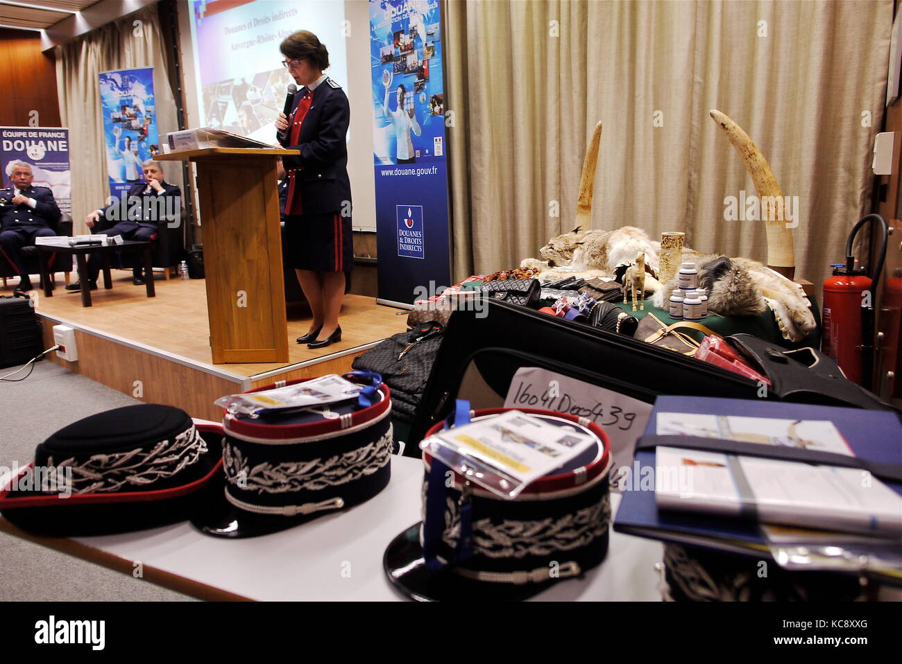 Presentation of illegal items seized by French Customs, Villeurbanne