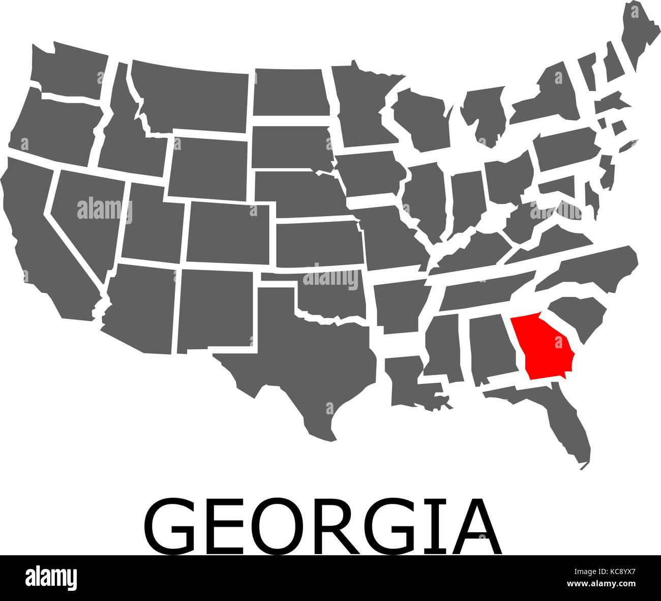 Map Of State Of Georgia Usa.Bordering Geographical Map Of Usa With State Of Georgia Marked With
