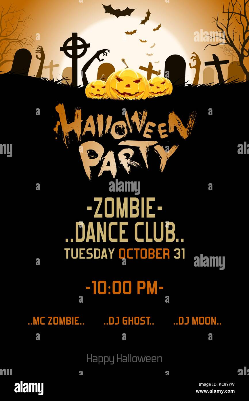 Halloween Zombie Party Poster Holiday Card With Pumpkins
