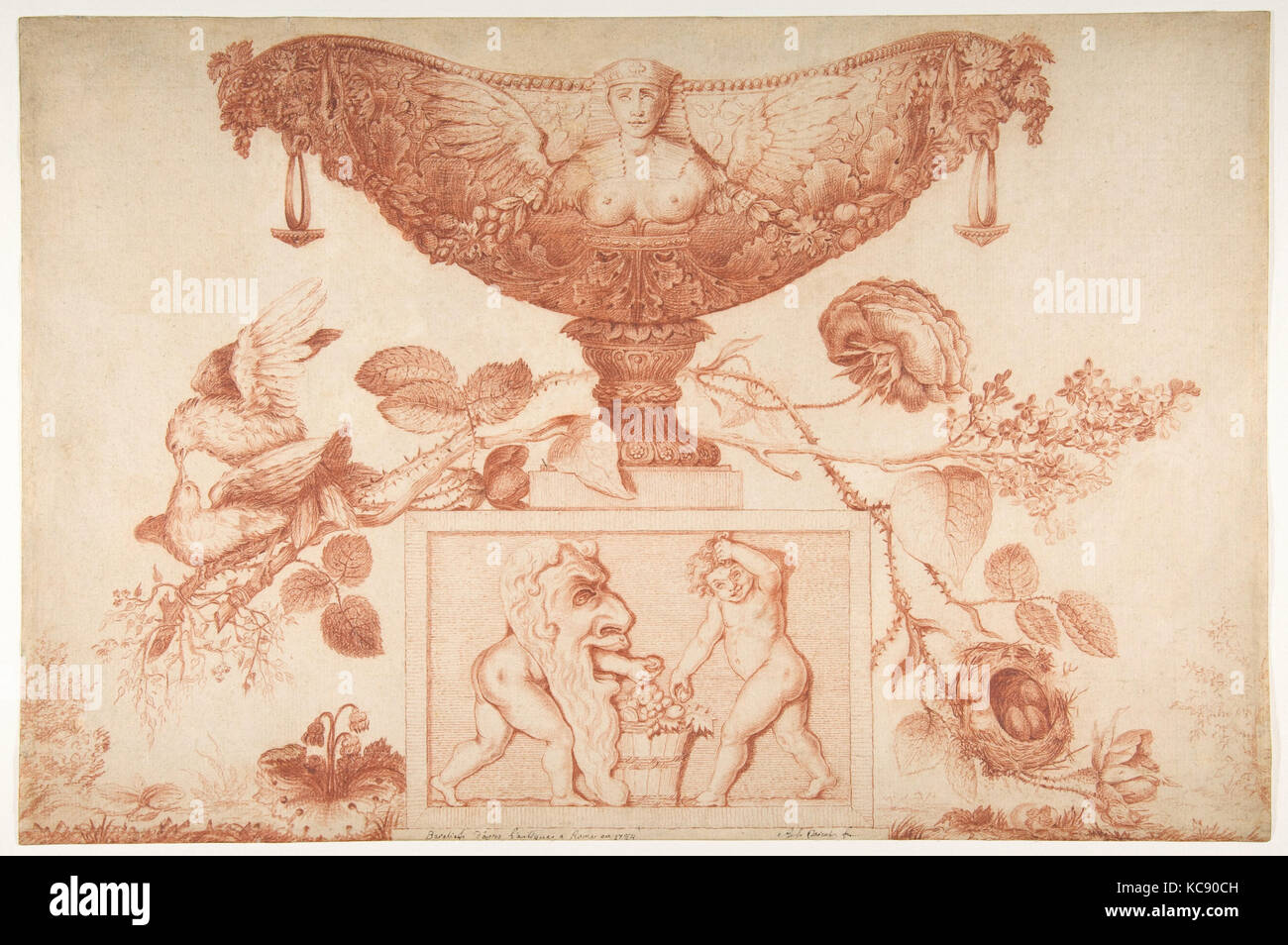 Wine Cooler or Vase on a Classical Pedestal, Aubert Henri Joseph Parent, ca. 1784 - Stock Image