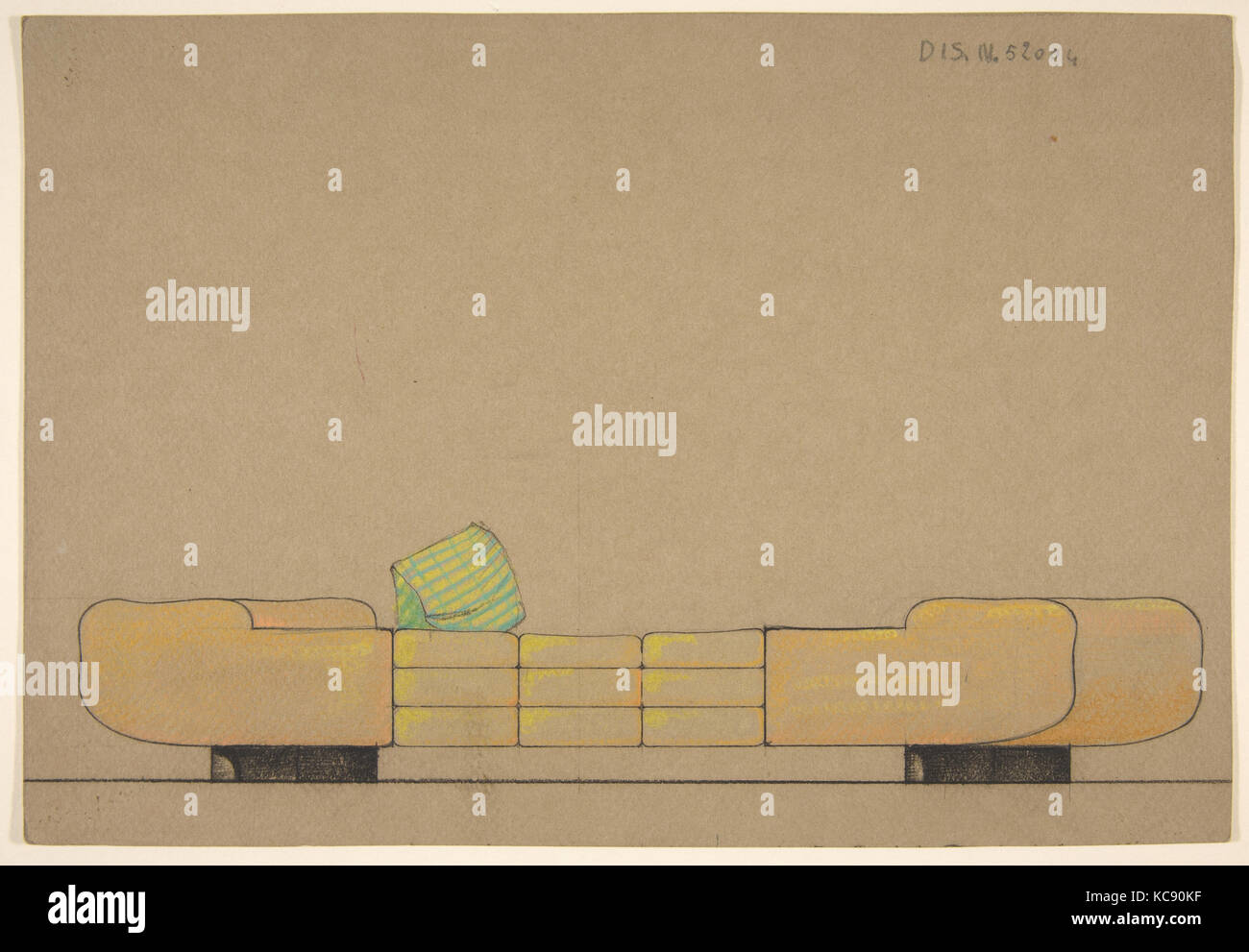 Elevation of a Daybed on Black Bases, Guglielmo Ulrich, 1932 - Stock Image