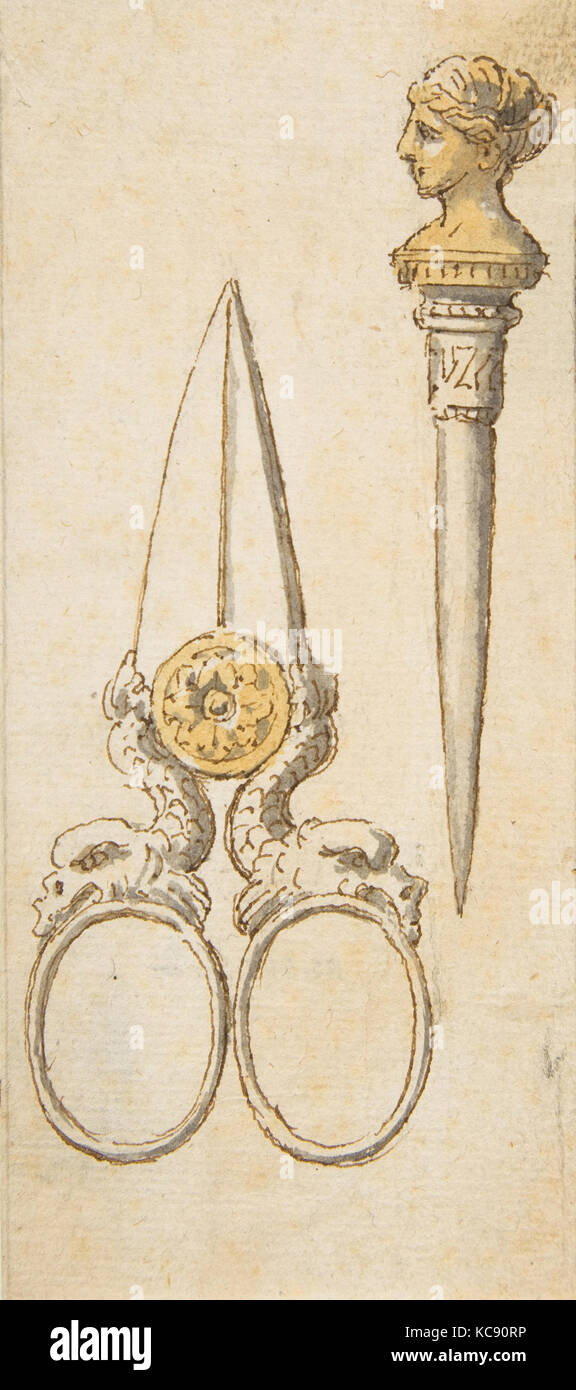 Designs for Scissors and Letter Opener, Anonymous, French, 19th century, 19th century - Stock Image