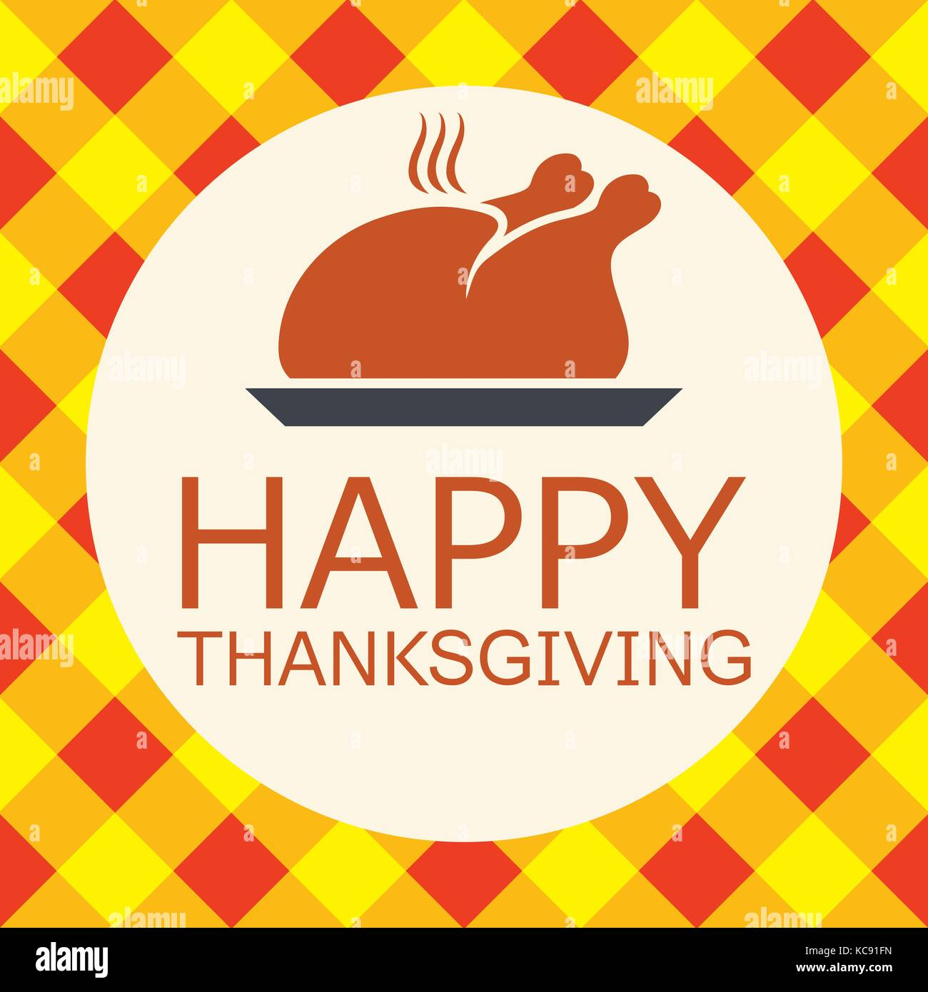 vector cooked turkey for happy thanksgiving day card. symbol of prepared turkey bird on checkered autumn background - Stock Vector