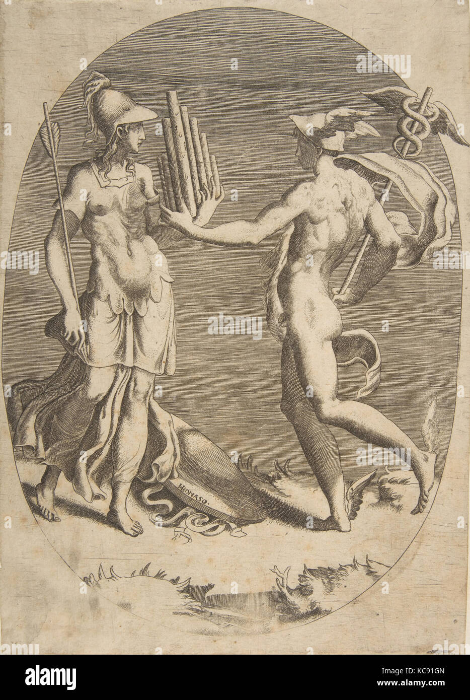 Mercury presenting a panpipe to Minerva who stands at left, an oval composition, Giulio Bonasone, 1531–76 - Stock Image