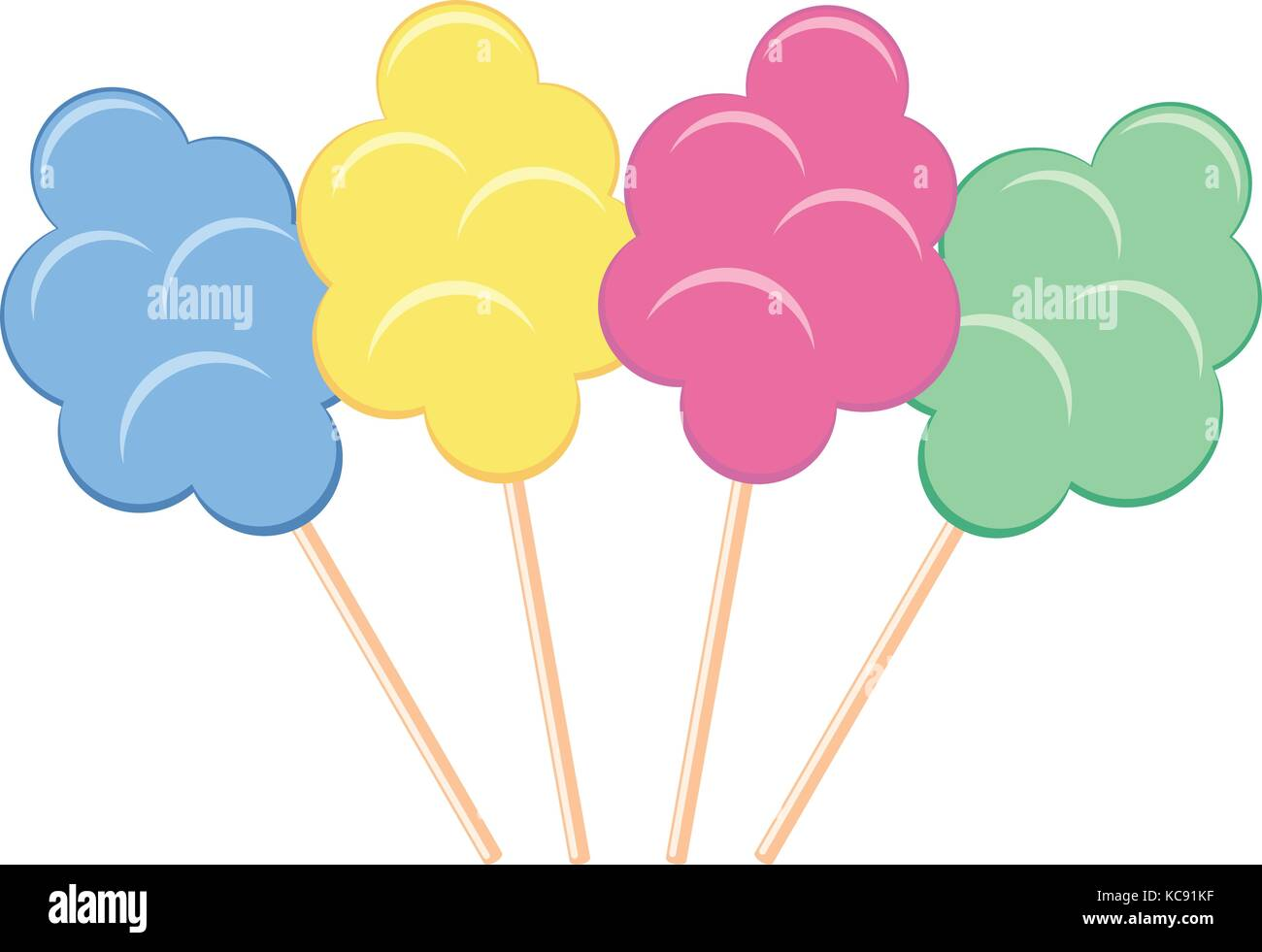 vector colorful candy cotton set isolated on white background. collection of sweet fluffy sugar clouds. - Stock Image