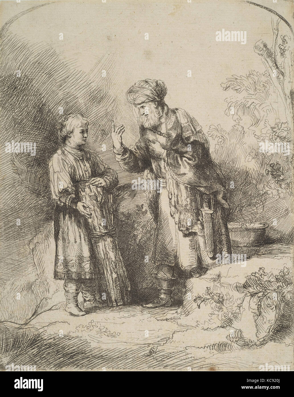 Abraham and Isaac (reverse copy), After Rembrandt, n.d - Stock Image