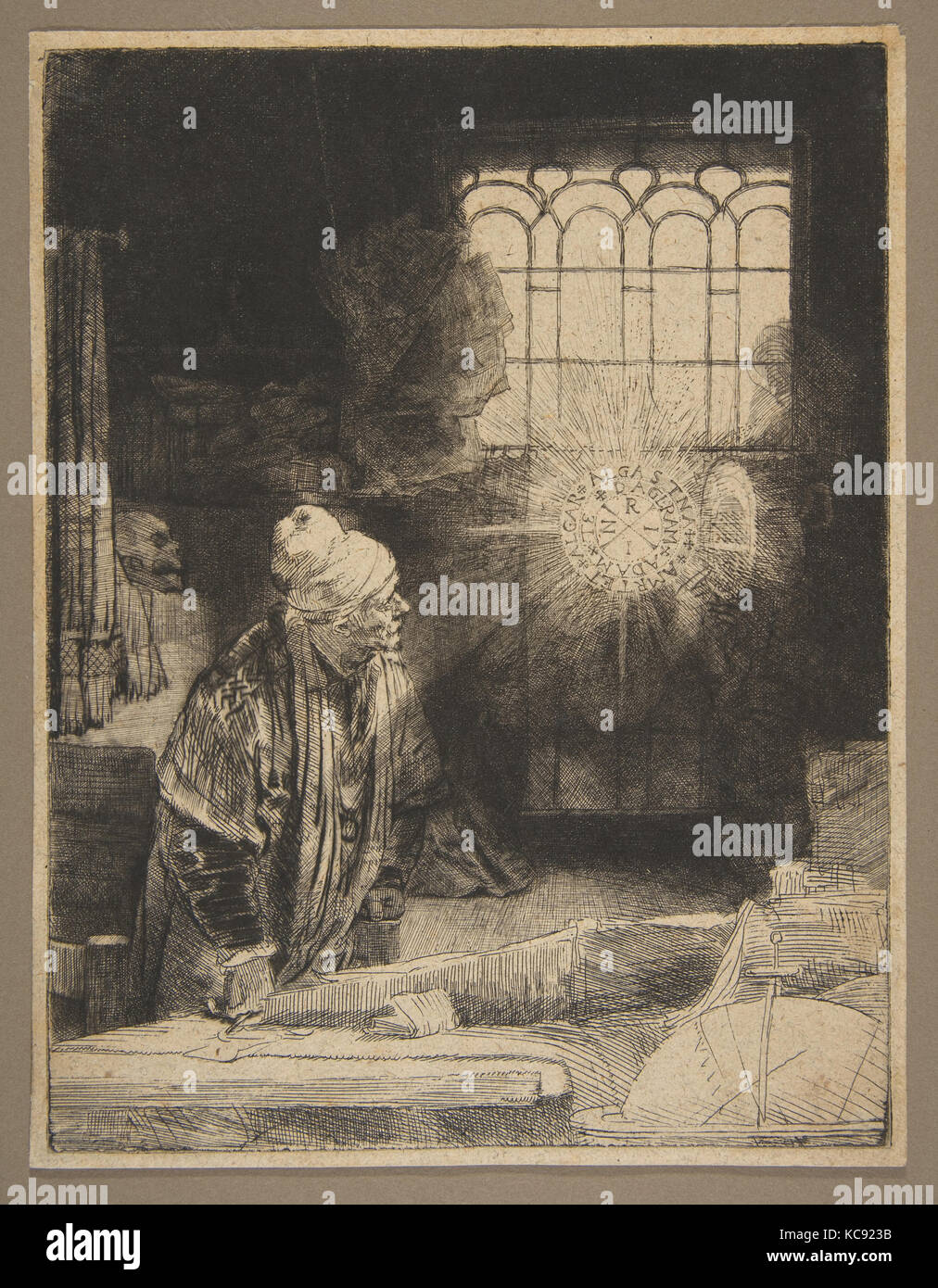 Faust, ca. 1652, Etching, drypoint, and engraving; first state of three, Prints, Rembrandt (Rembrandt van Rijn) - Stock Image