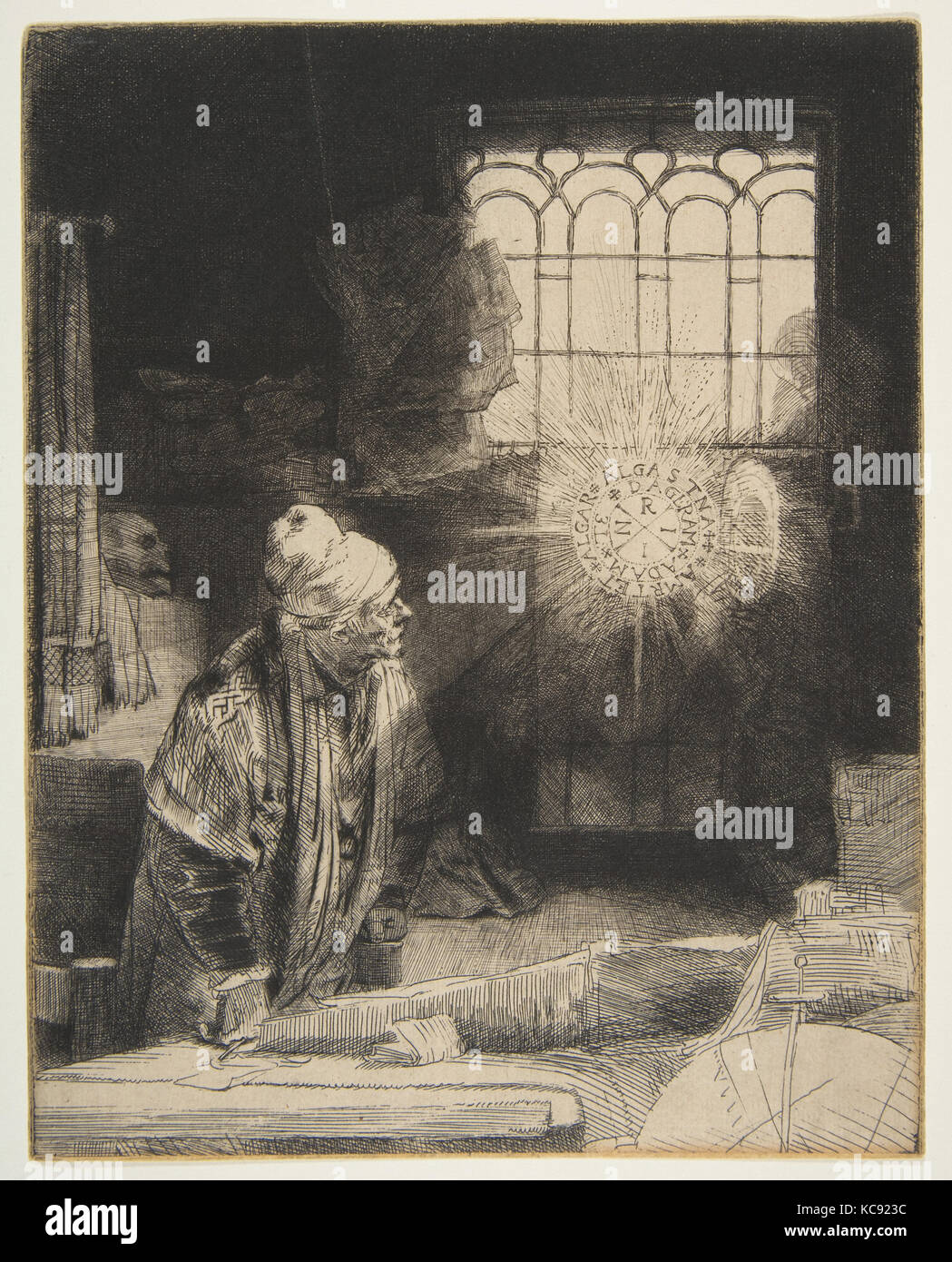 Faust, ca. 1652, Etching; first state of three, sheet: 8 1/8 x 9 3/8 in. (20.6 x 23.8 cm), Prints, Rembrandt (Rembrandt - Stock Image