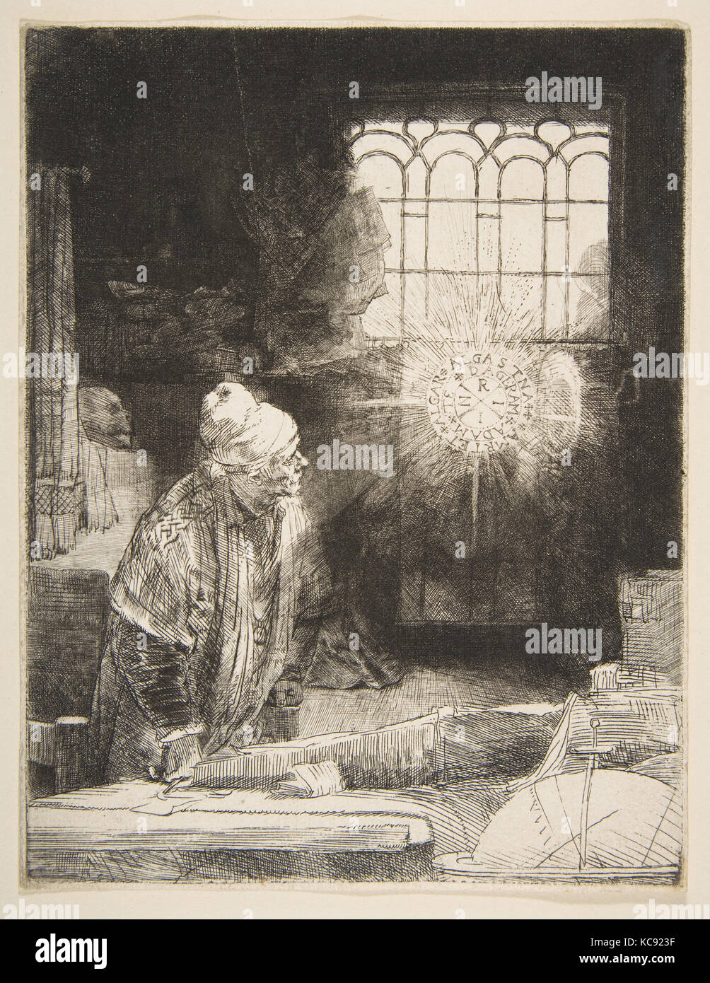 Faust, ca. 1652, Etching, drypoint, and burin, Prints, Rembrandt (Rembrandt van Rijn) (Dutch, Leiden 1606–1669 Amsterdam - Stock Image