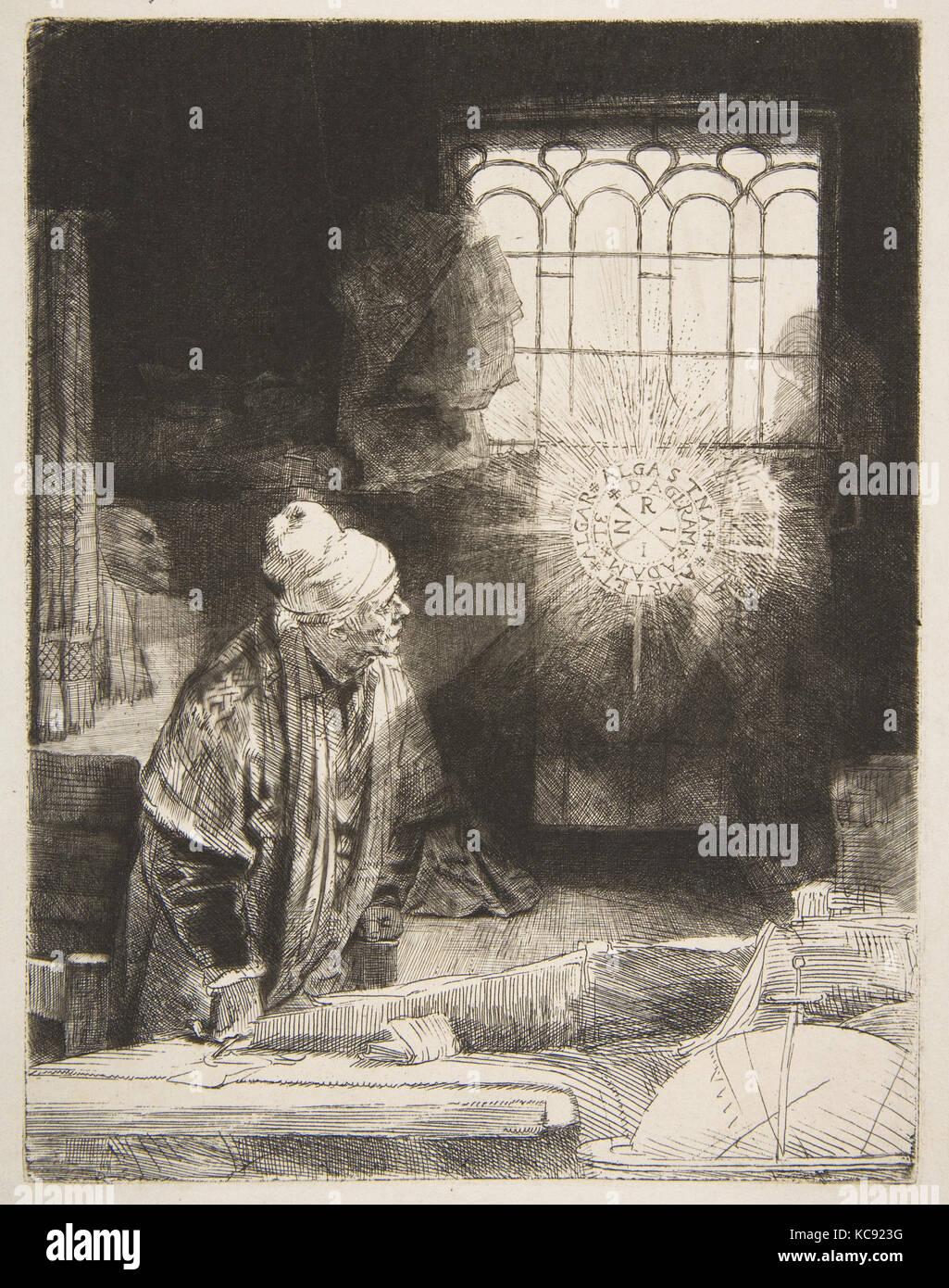 Faust, ca. 1652, Etching, drypoint, and burin, Prints, Rembrandt (Rembrandt van Rijn) (Dutch, Leiden 1606–1669 Amsterdam - Stock Image