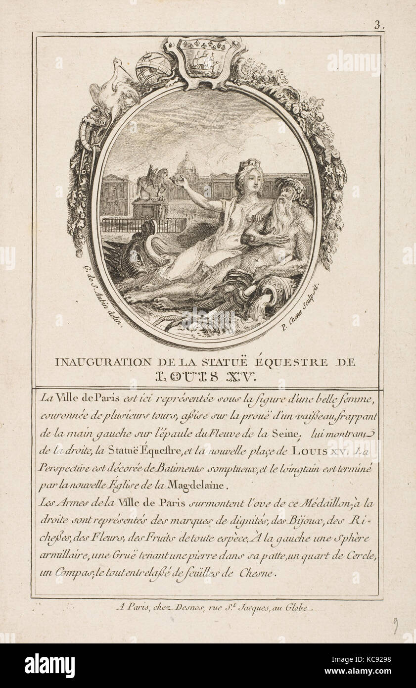 Inauguration de la statue equestre de Louis XV, After Gabriel de Saint-Aubin, 1766 - Stock Image