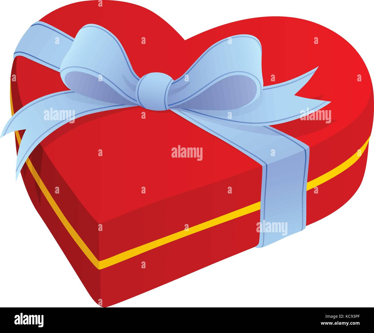 Vector illustration of a red heart shaped gift box with blue bow - Stock Image
