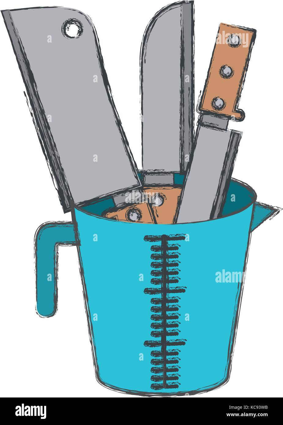 container with knifes colorful blurred contour - Stock Image