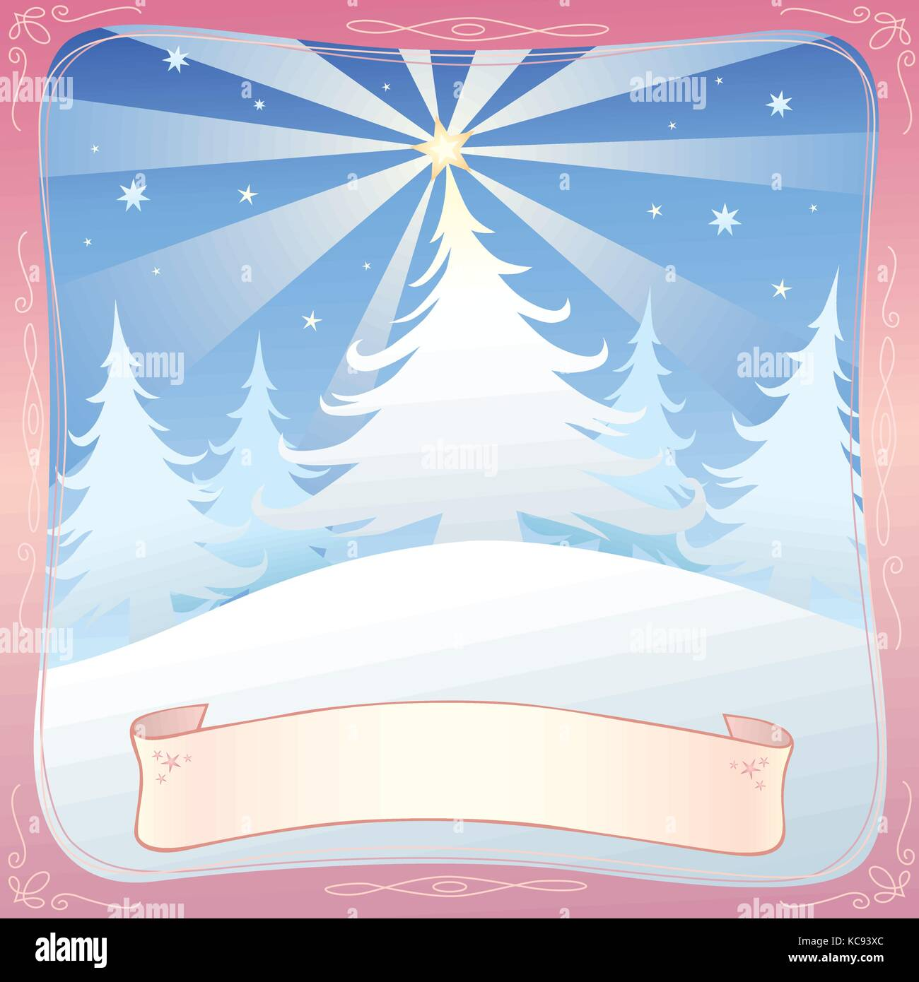 Christmas greeting depicting snow covered hill and snow covered trees on top of it. There's a star on top of - Stock Vector