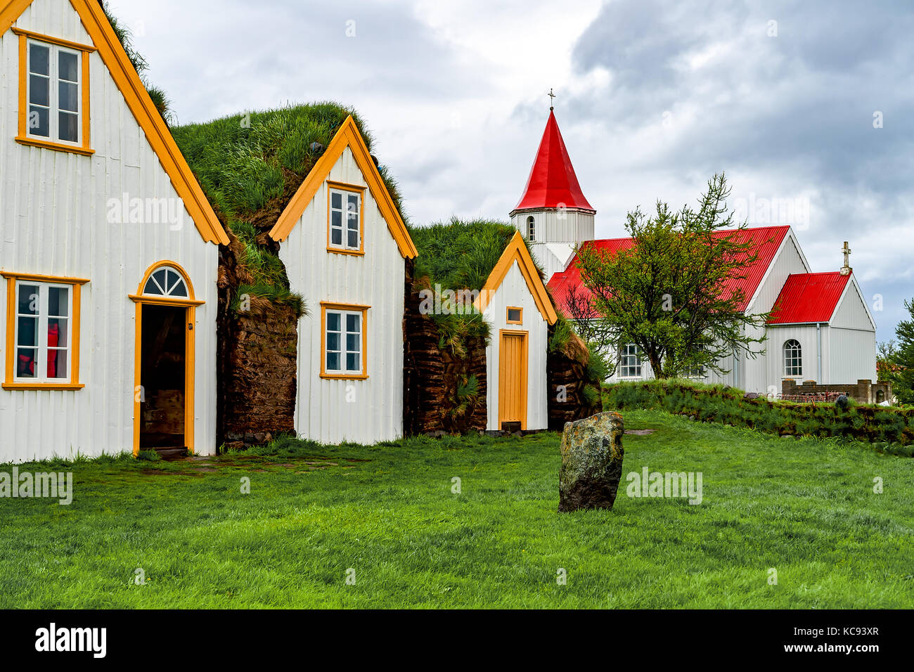 Traditional turf houses in Glaumbaer - Iceland - Stock Image