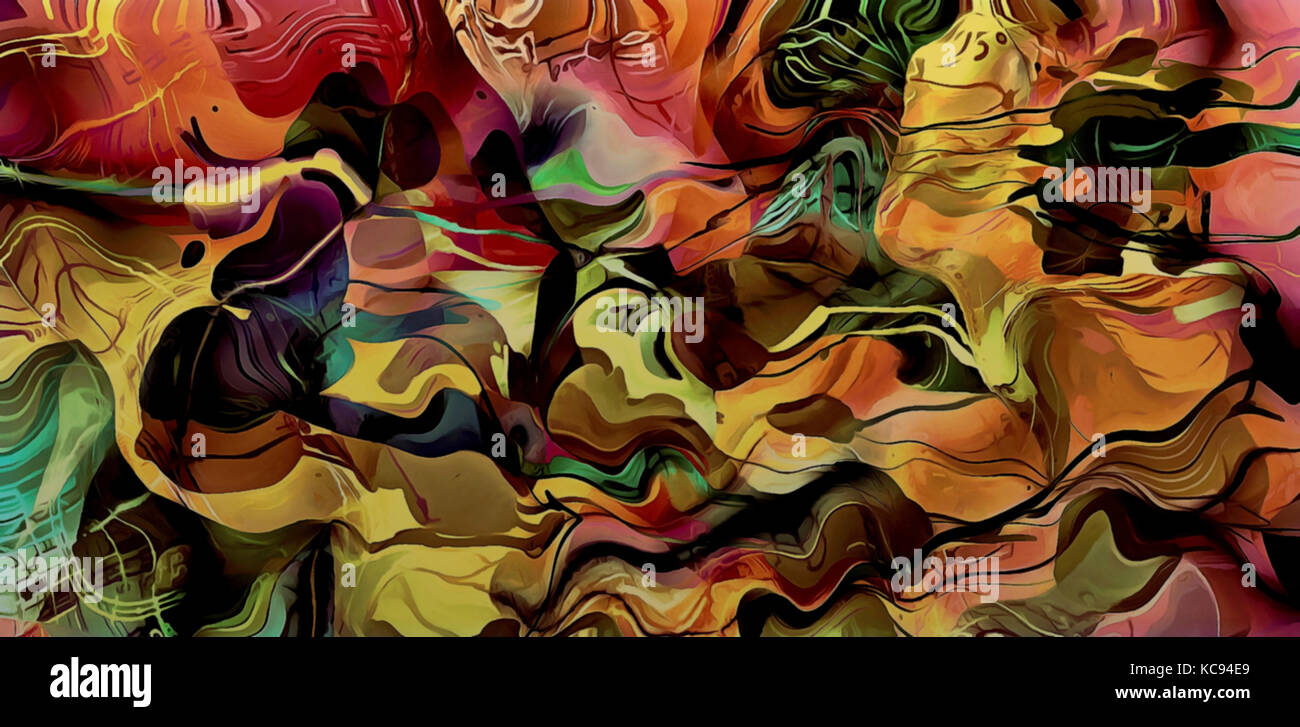 abstract illustration art chaos of colored psychedelic fractal with wavy spiral lines of red brown tones on a black - Stock Image