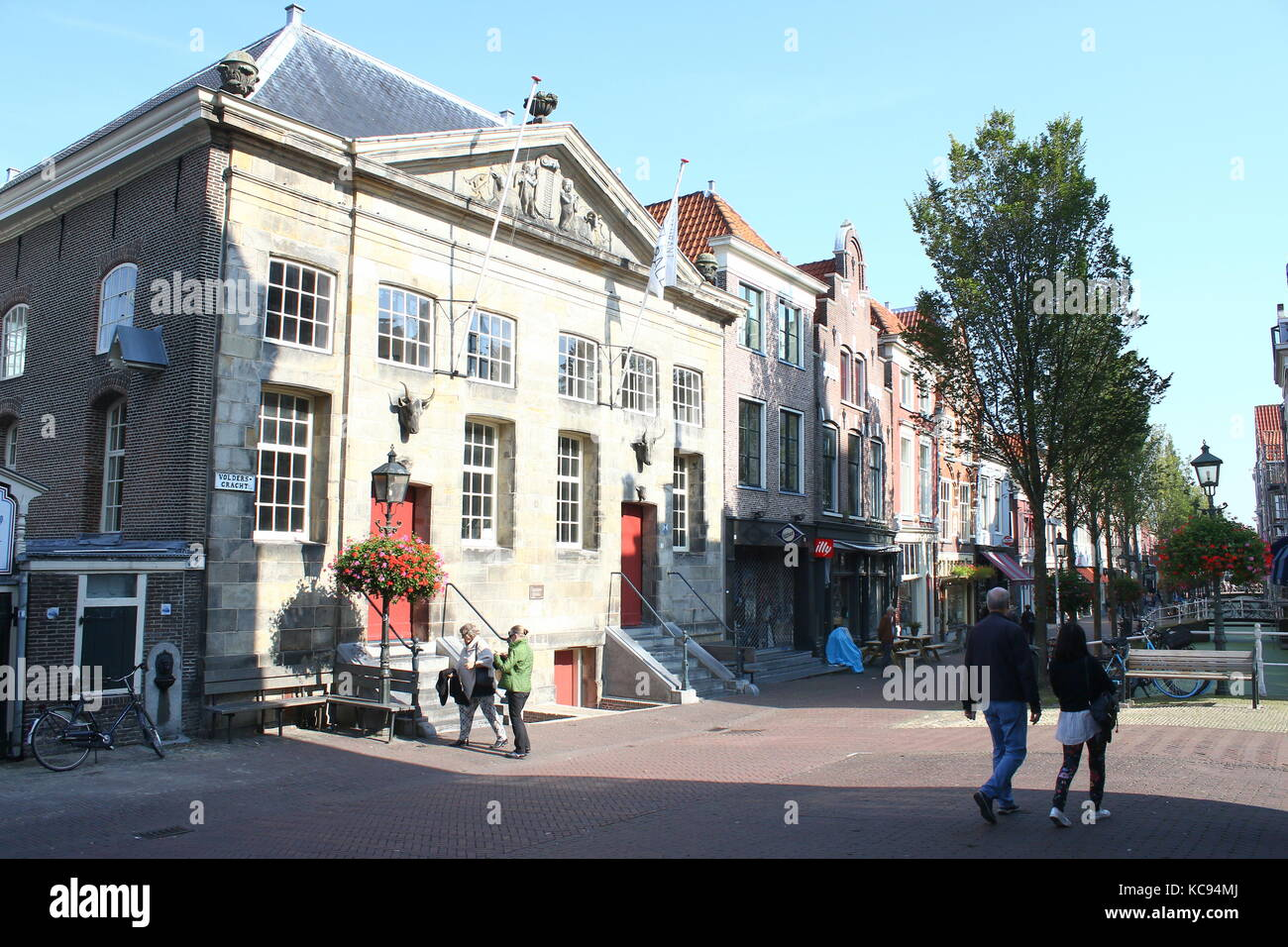 17th century Koornbeurs (Corn exchange) at Voldersgracht street in central Delft, Netherland. Also named Vleeshal - Stock Image