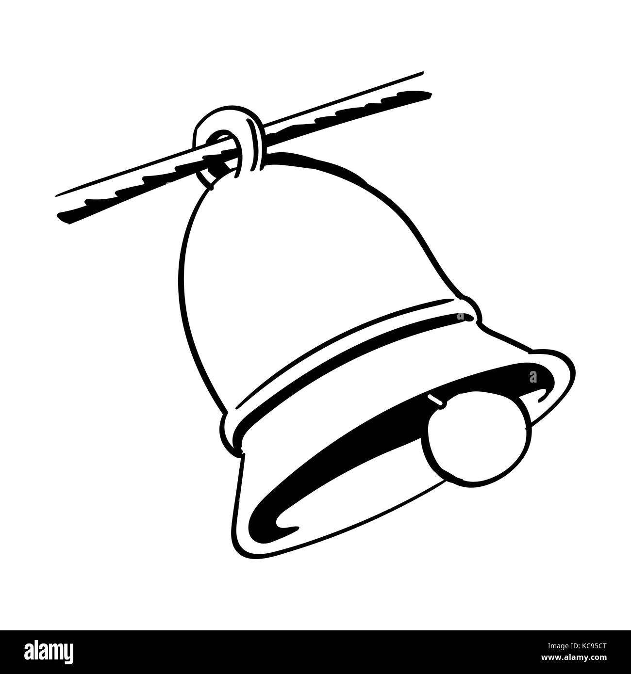 Hand Drawing Of A Bell Isolated On White Background Black And Simple Line Vector Illustration For Coloring Book