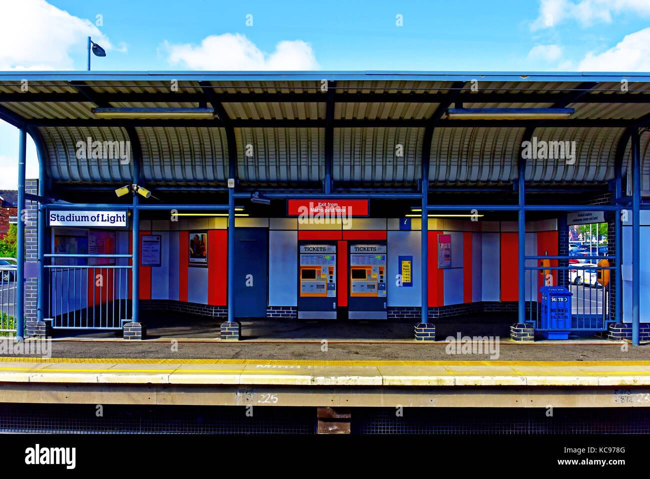 Sunderland Stadium of Light Tyne and Wear Red and White Metro station Stock Photo